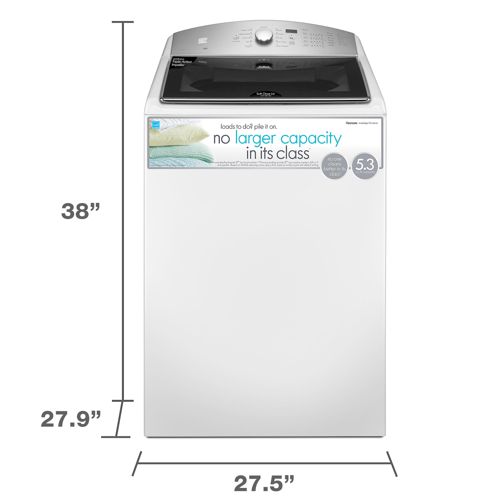 Kenmore 28132 5.3 cu. ft. Top-Load Washer w/ Triple Action Impeller - White