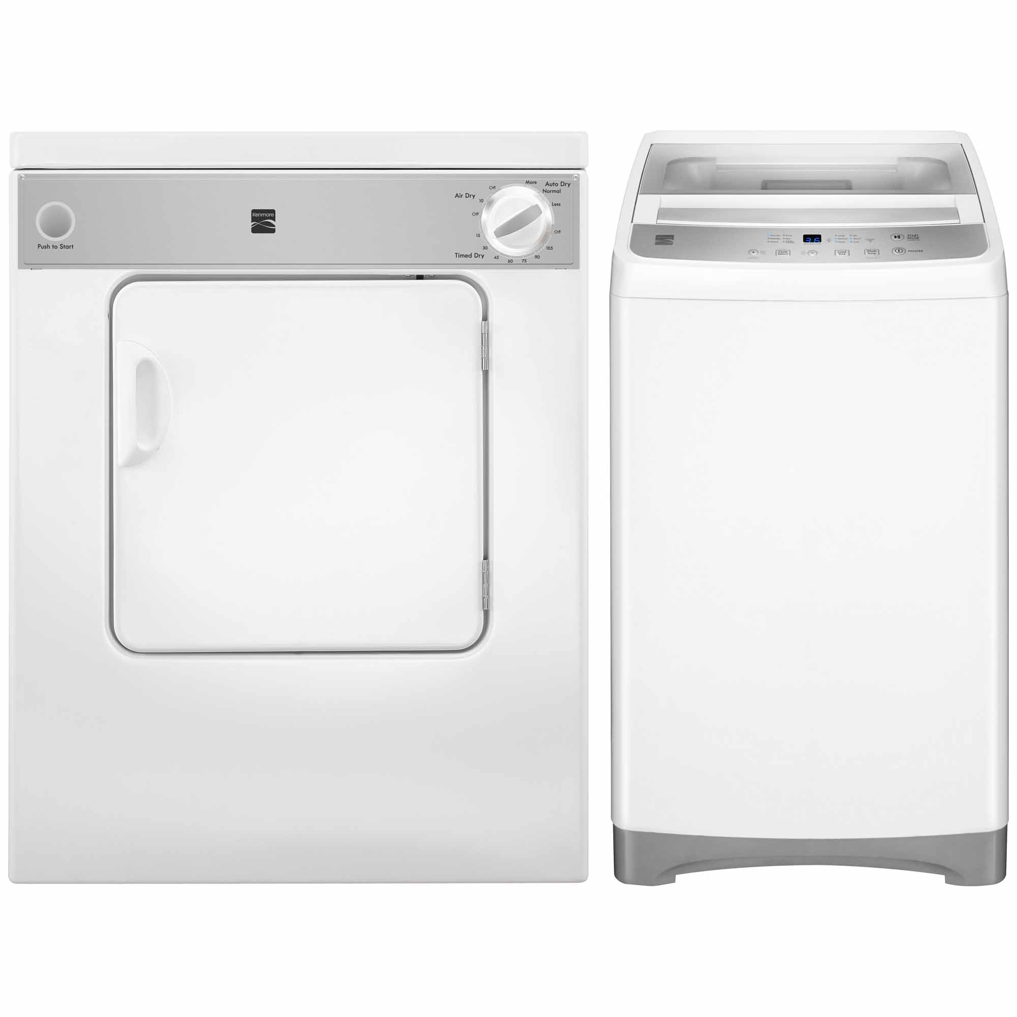 1.6 cu. ft. Top-Load Compact Washer w/ SS Wash Basket & 3.4 cu. ft. Compact Electric Dryer - White