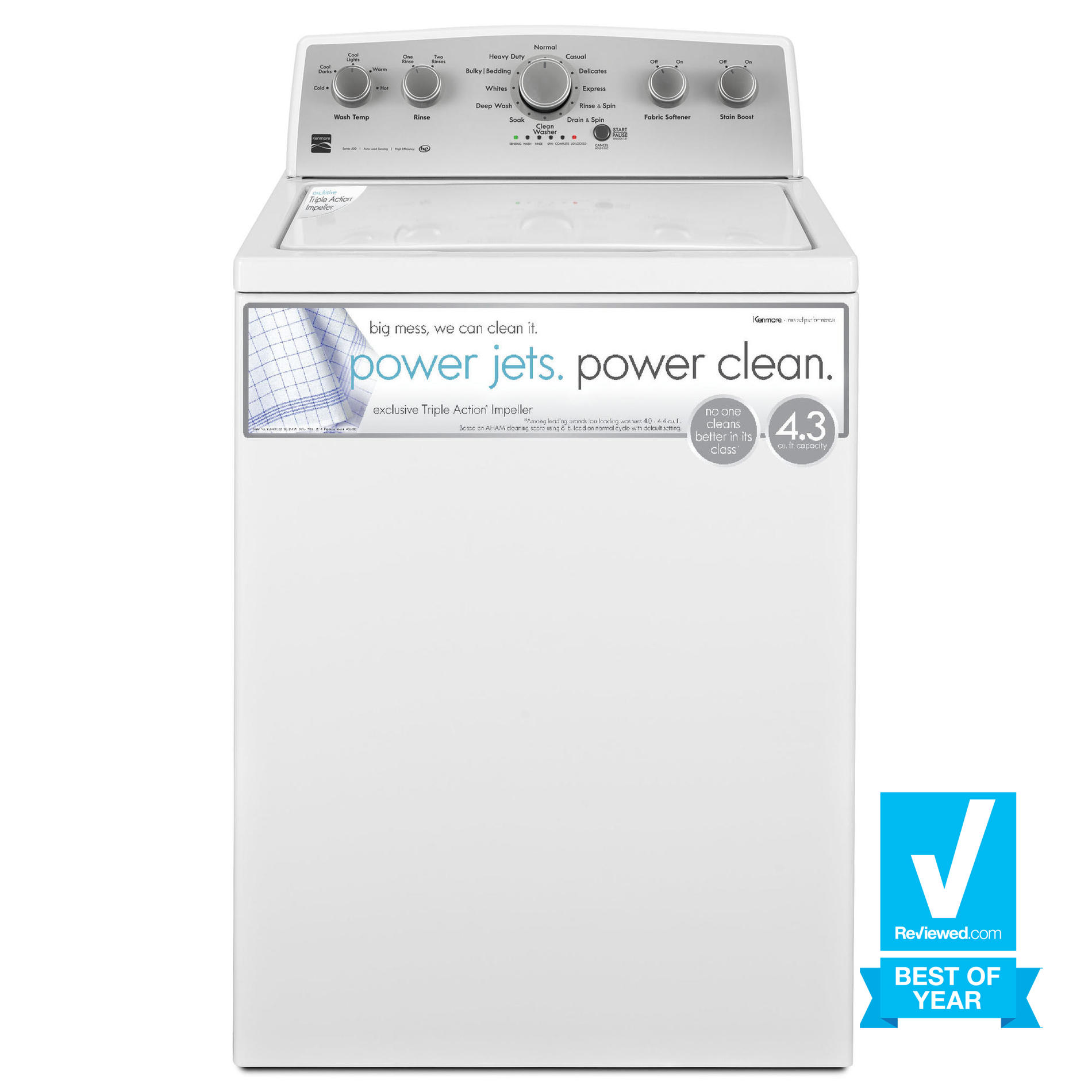 Kenmore 25132 4.3 cu. ft. Top Load Washer w/ Exclusive Triple® Action Impeller - White