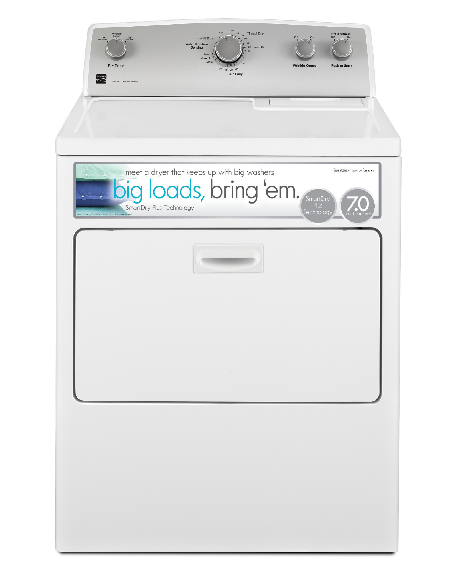 Kenmore 75132 7.0 cu. ft. Gas Dryer w/ SmartDry Plus Technology - White