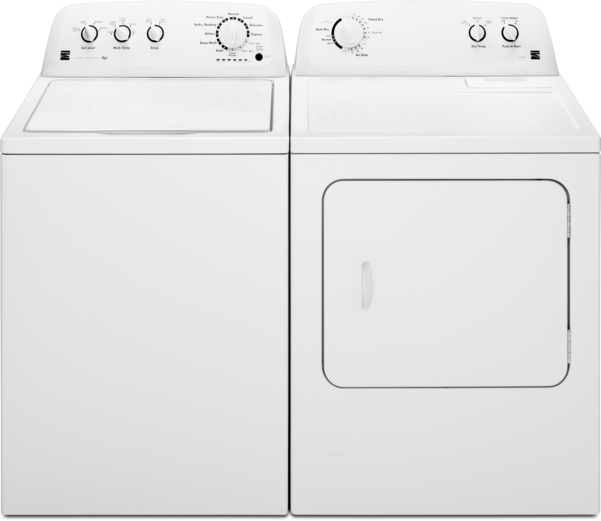 Kenmore 3.5 cu. ft. Agitator Top-Load Washer & Gas or Electric 7.0 cu. ft.Dryer - White