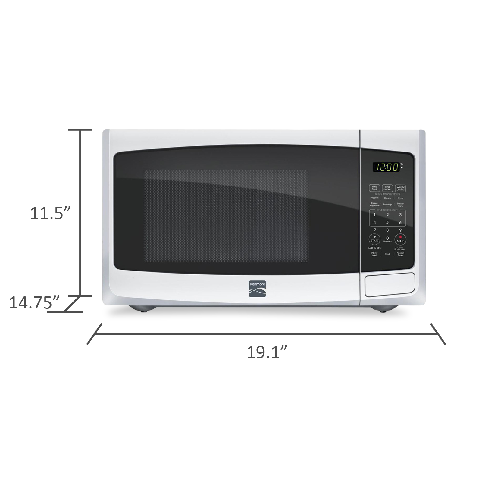 Kenmore 73092 0.9 Cu. Ft. Countertop Microwave White 73092