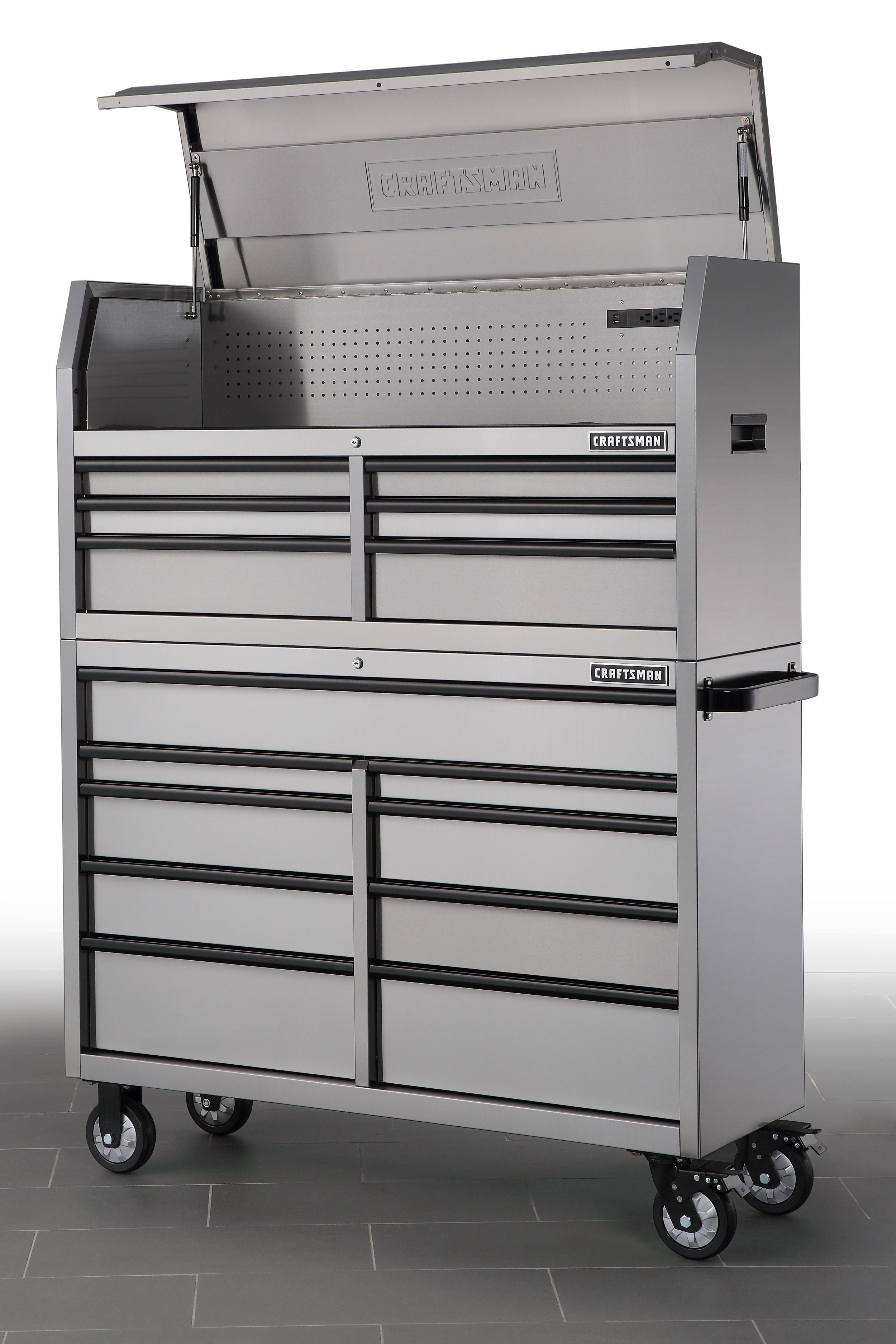 15-Drawer Heavy Duty Soft-Close Drawers Tool Storage Combo in Stainless Steel