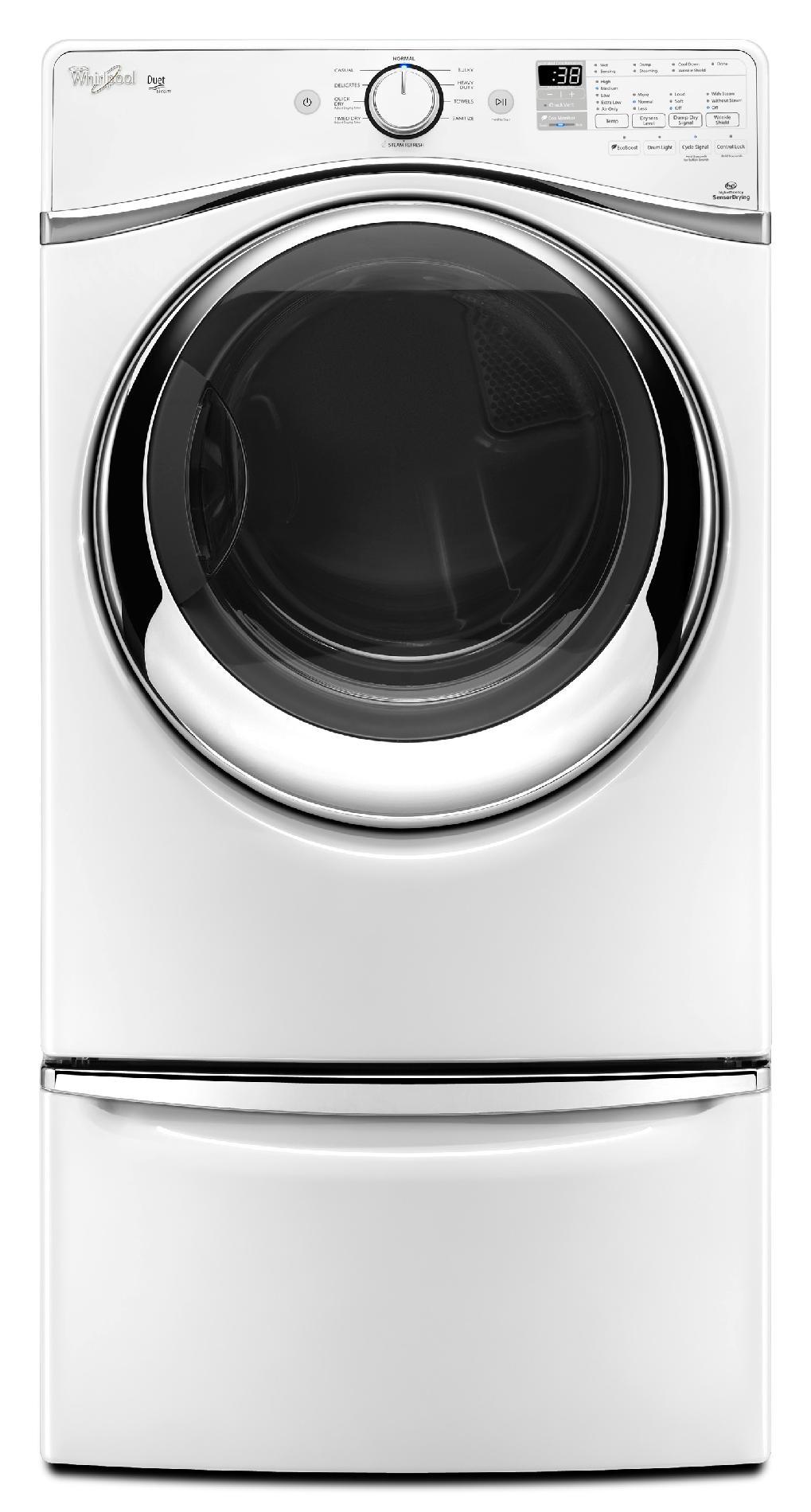 Whirlpool WGD95HEDW 7.4 cu. ft. Duet® Gas Dryer w/ Stainless Steel Drum - White WGD95HEDW
