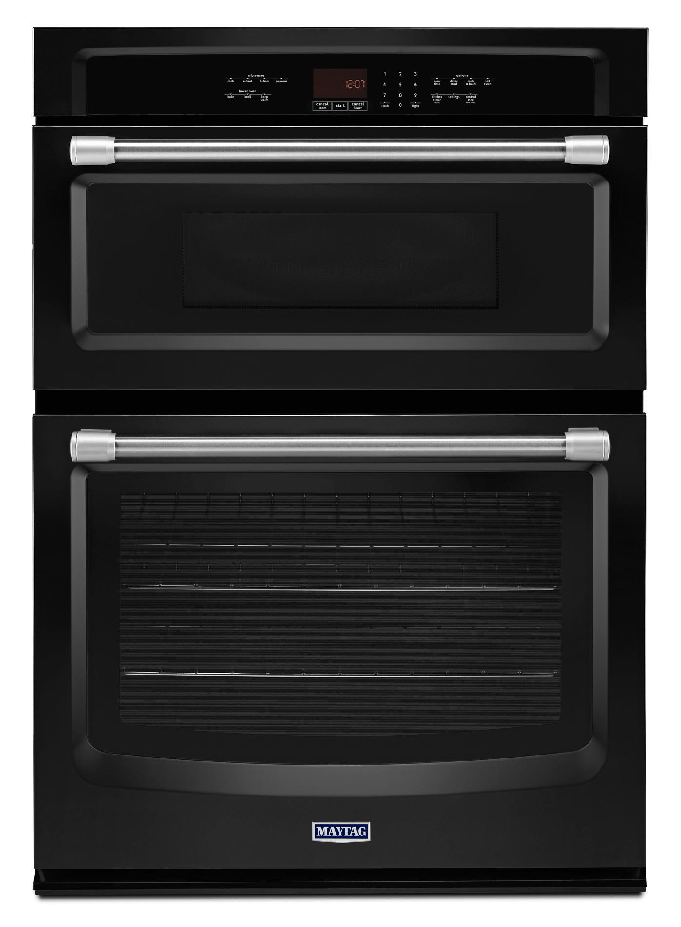 Maytag 30 Combination Wall Oven w/ Precision Cooking™ System - Black w/ Stainless Handle