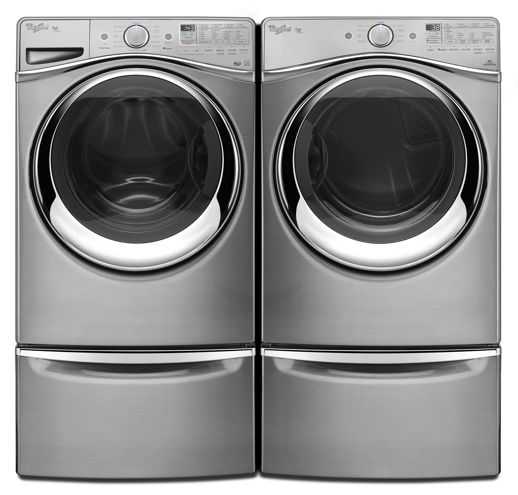 Whirlpool WFW97HEDU 4.5 cu. ft. Duet® Front-Load Washer w/ Load and Go System - Diamond Steel