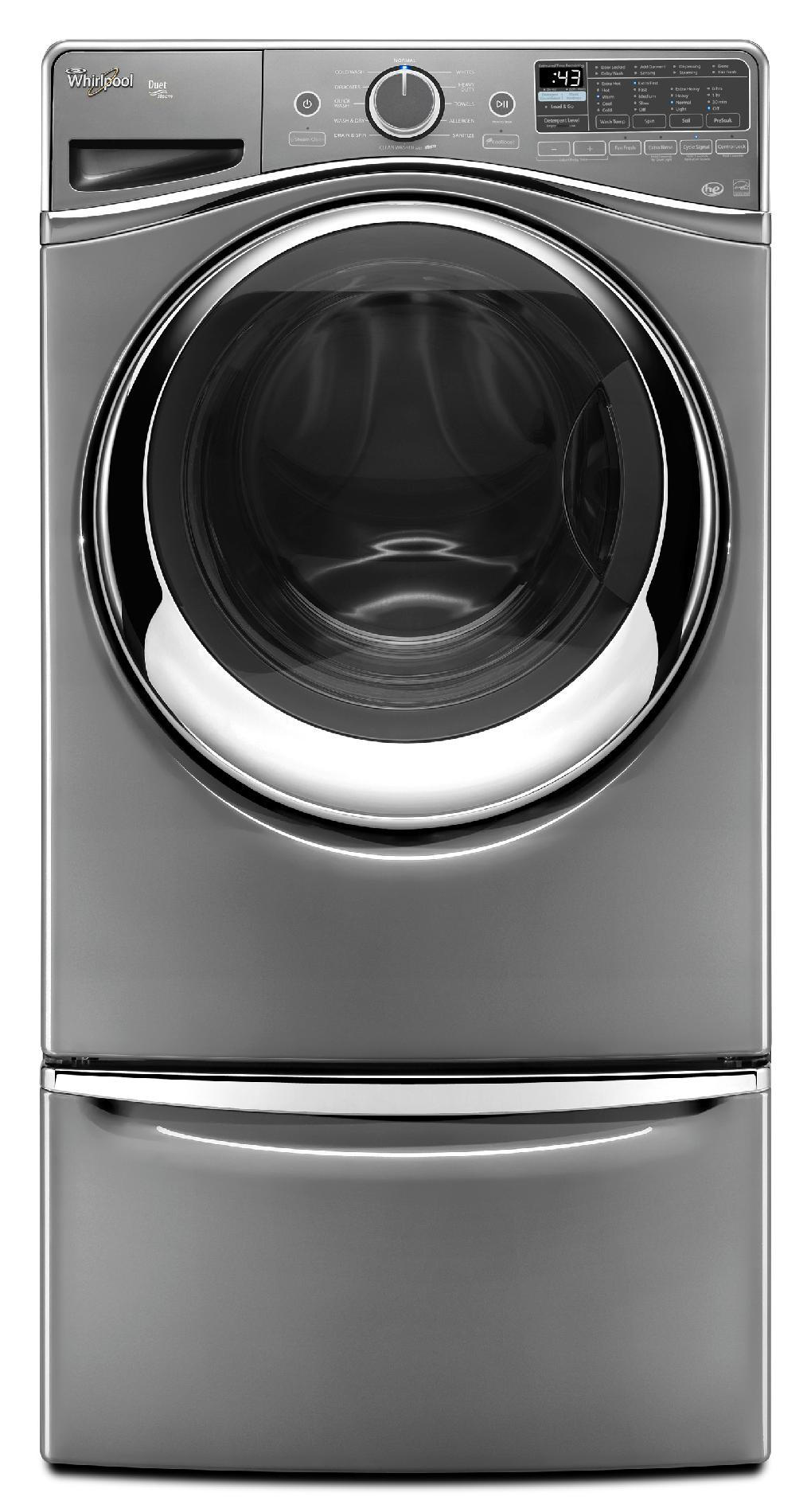 Whirlpool WFW97HEDC 4.5 cu. ft. Duet® Front-Load Washer w/ Load and Go System - Chrome Shadow