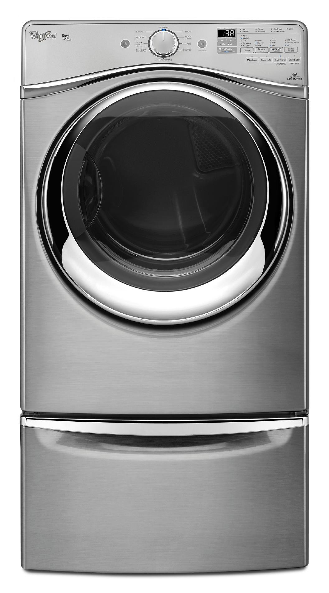 Whirlpool WGD95HEDU 7.4 cu. ft. Duet® Gas Dryer w/ Stainless Steel Drum - Diamond Steel