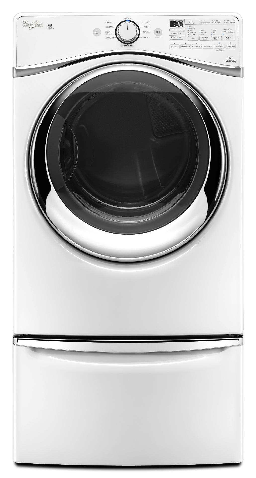Whirlpool WGD97HEDW 7.4 cu. ft. Duet® Gas Dryer w/ SilentSteel™ Drum - White