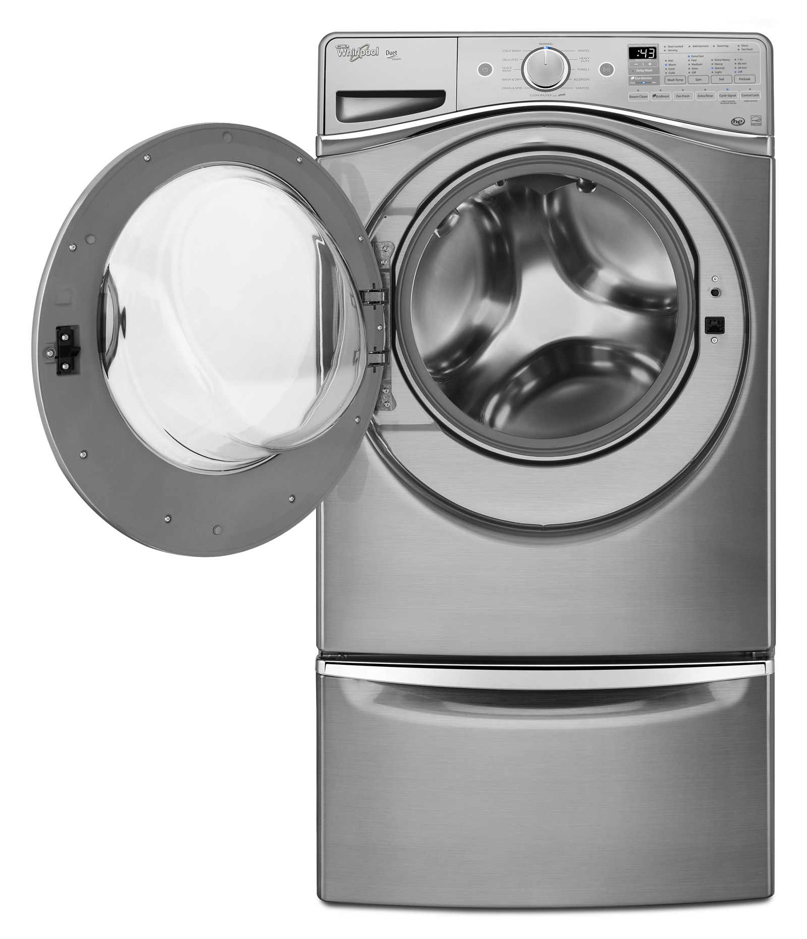 Whirlpool WFW95HEDU 4.5 cu. ft. Duet® Front-Load Washer w/ Wash and Dry Cycle - Diamond Steel