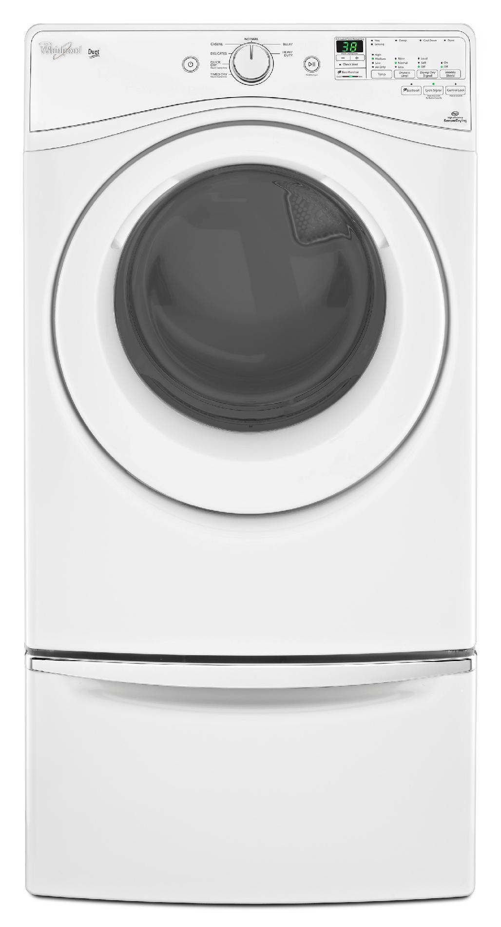 Whirlpool WGD81HEDW 7.4 cu. ft. Duet® Gas Dryer w/ Drum Light - White