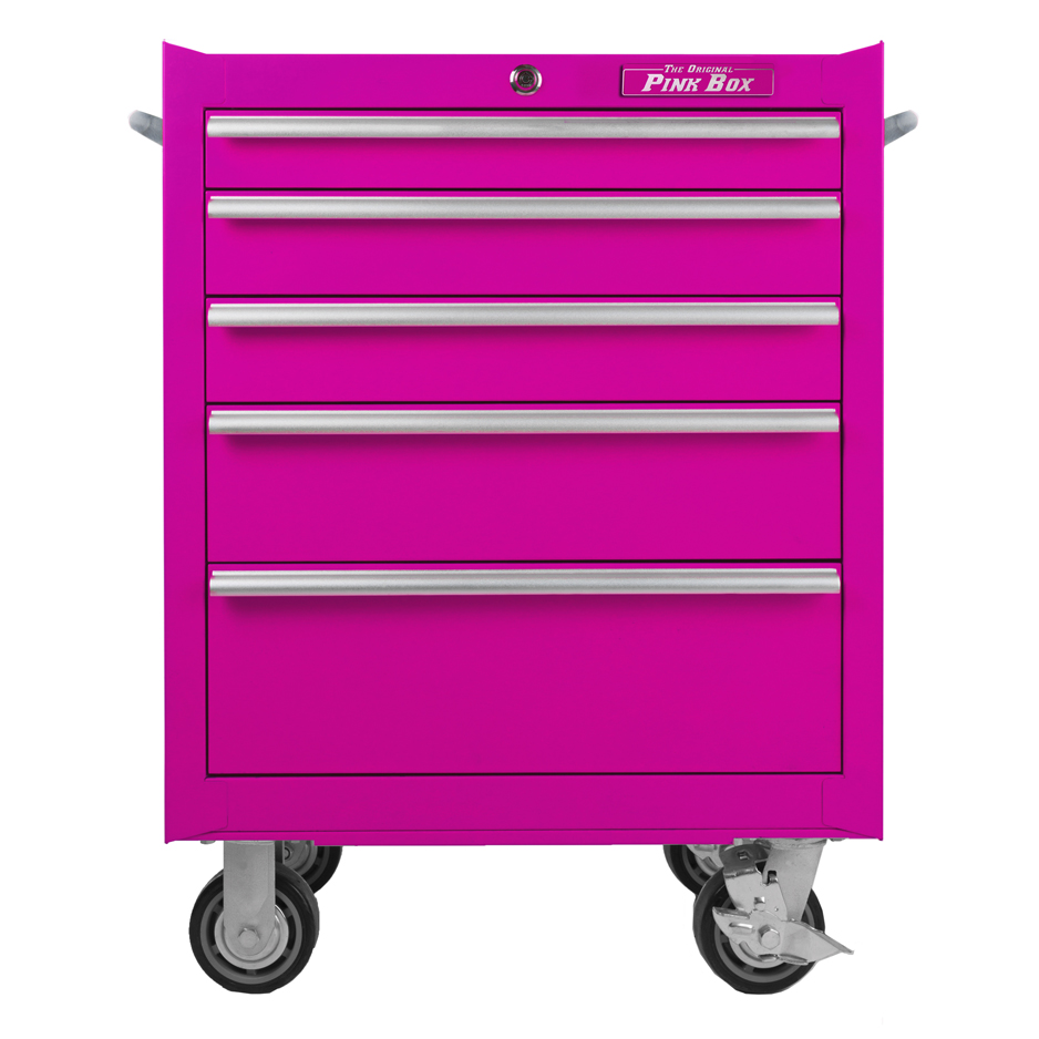 "The Original Pink Box 26"" 5 Drawer 18G Steel Rolling Cabinet, Pink"
