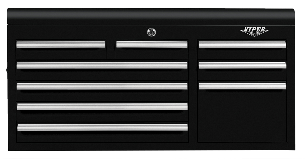 "Viper Tool Storage 41"" 9 Drawer 18G Steel Top Chest, Black"