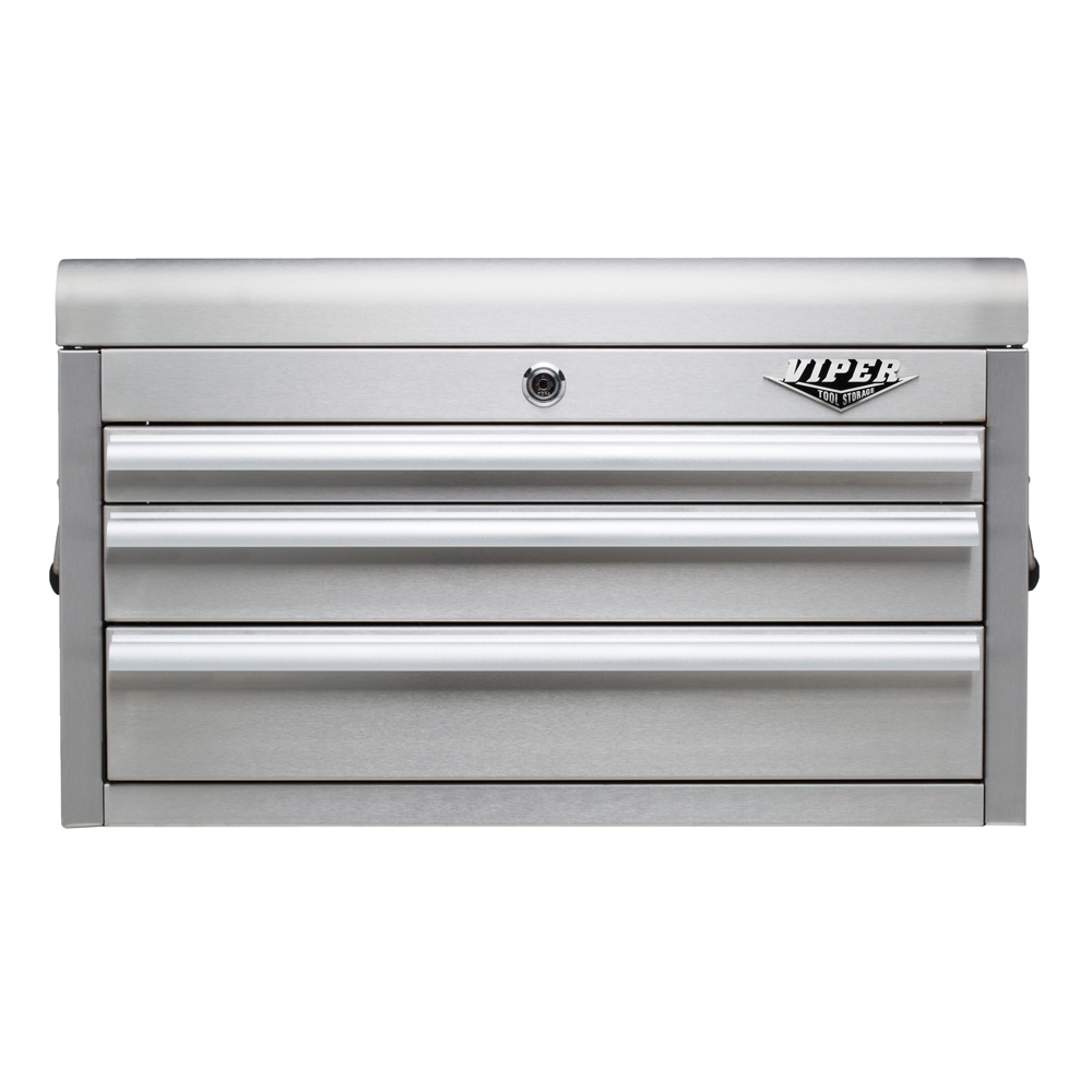 "Viper Tool Storage 26"" 3 Drawer 304 Stainless Steel Top Chest"