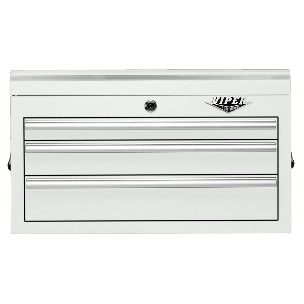Viper Tool Storage 26-Inch 3 Drawer 18G Steel Top Chest, White. Arctic White