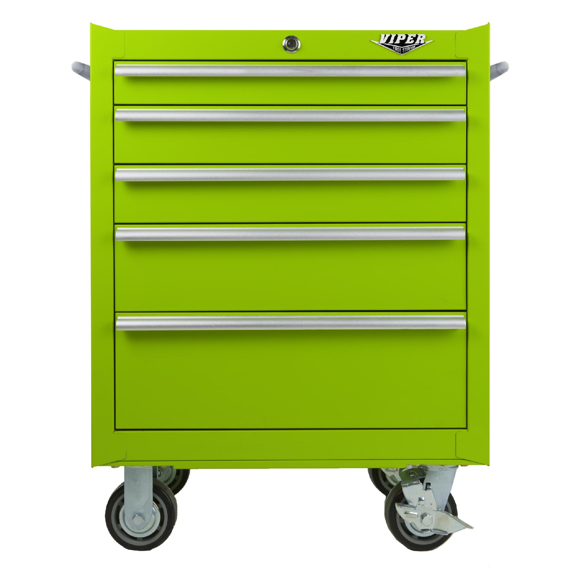 Viper Tool Storage 26-inch 5 Drawer 18G Steel Roller Cabinet  Lime