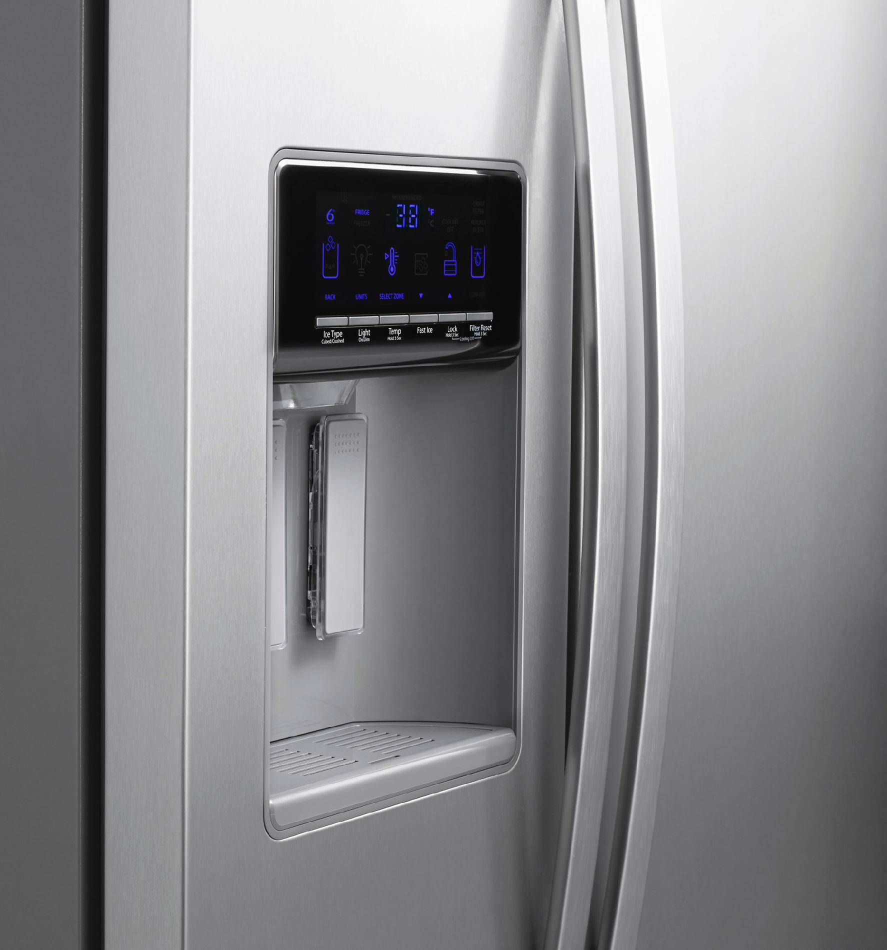 Whirlpool WRS576FIDM 26 cu. ft. Side-by-Side Refrigerator w/ Exterior Controls - Stainless Steel