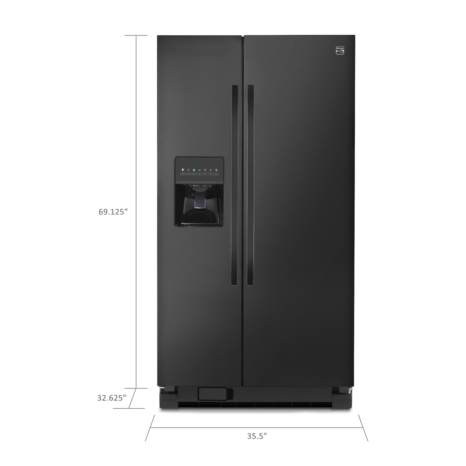 Kenmore 25 cu. ft. Side-by-Side Refrigerator - Black