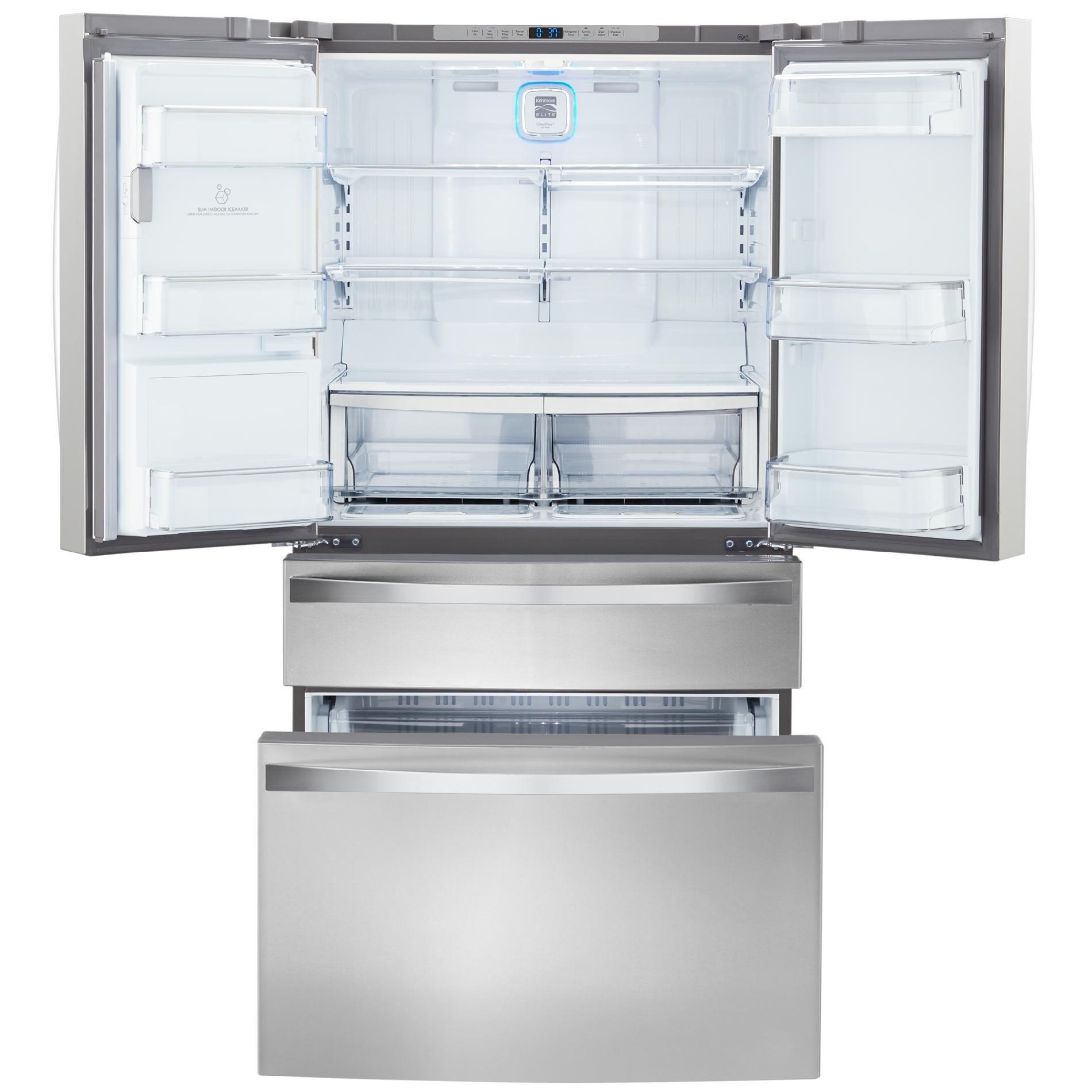 Kenmore Elite 72483 29.9 cu. ft. 4-Door Bottom-Freezer Refrigerator w/Dispenser - Stainless Steel