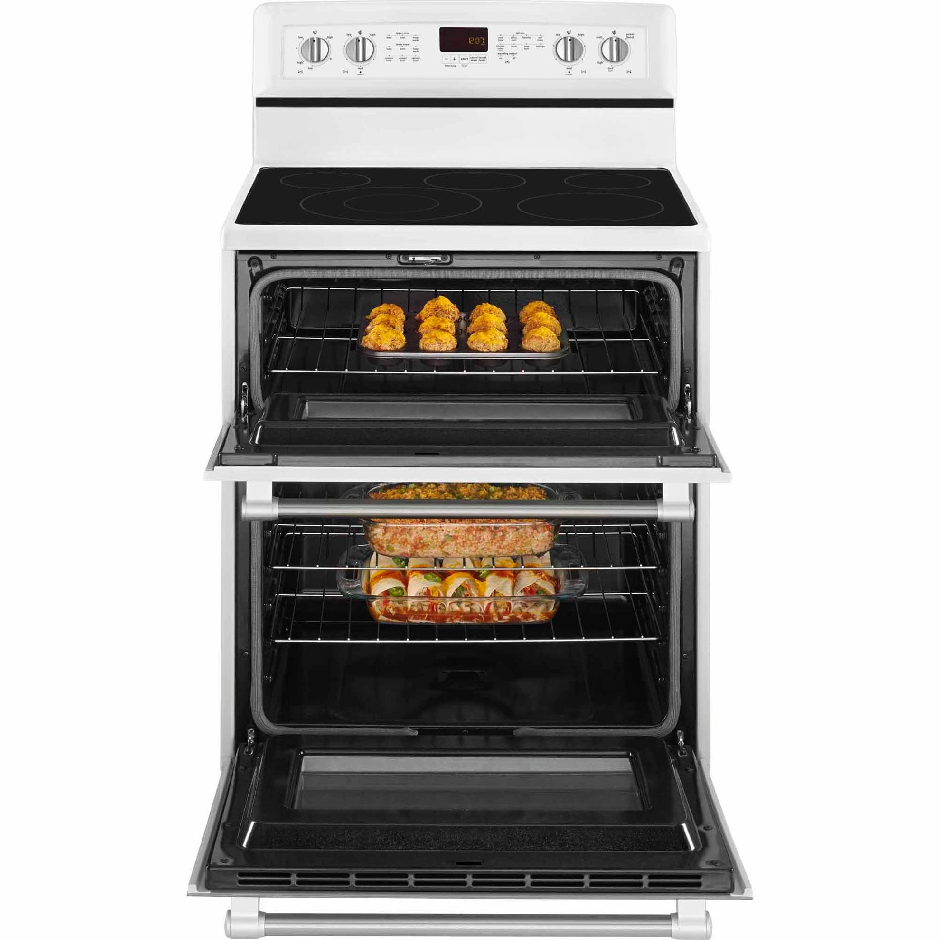 Maytag MGT8720DH 6.0 cu. ft. Double-Oven Gas Range - White w/ Stainless Handle