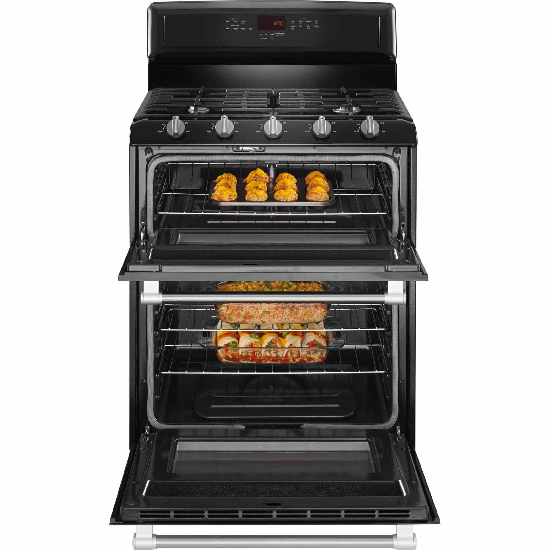 Maytag MGT8720DE 6.0 cu. ft. Double-Oven Gas Range - Black w/ Stainless Handle