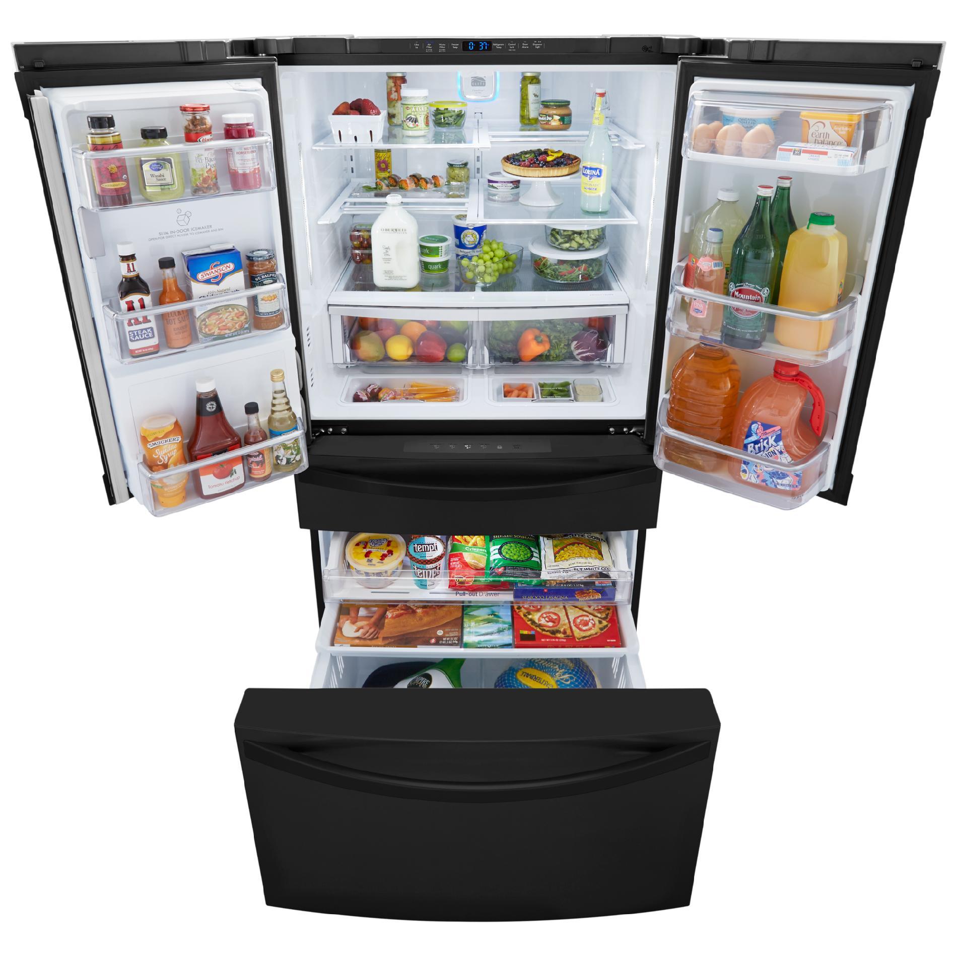 Kenmore Elite 72489 29.9 Cu. Ft. 4-Door Bottom-Freezer Refrigerator w/ Dispenser - Black
