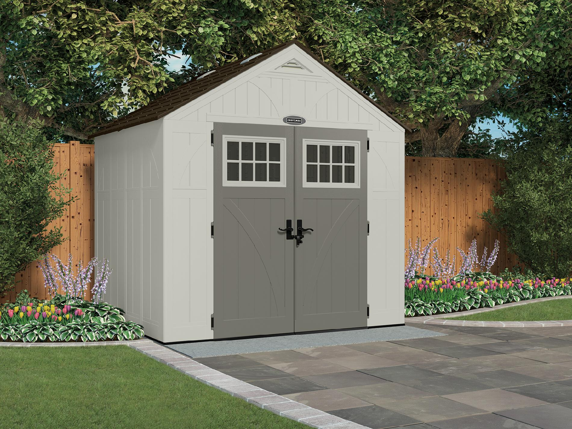 "Craftsman 8' 4.5"" x 7' 1.75"" Resin Storage Building, 378 cu. ft. - Exclusive VersaTrack Compatibility"