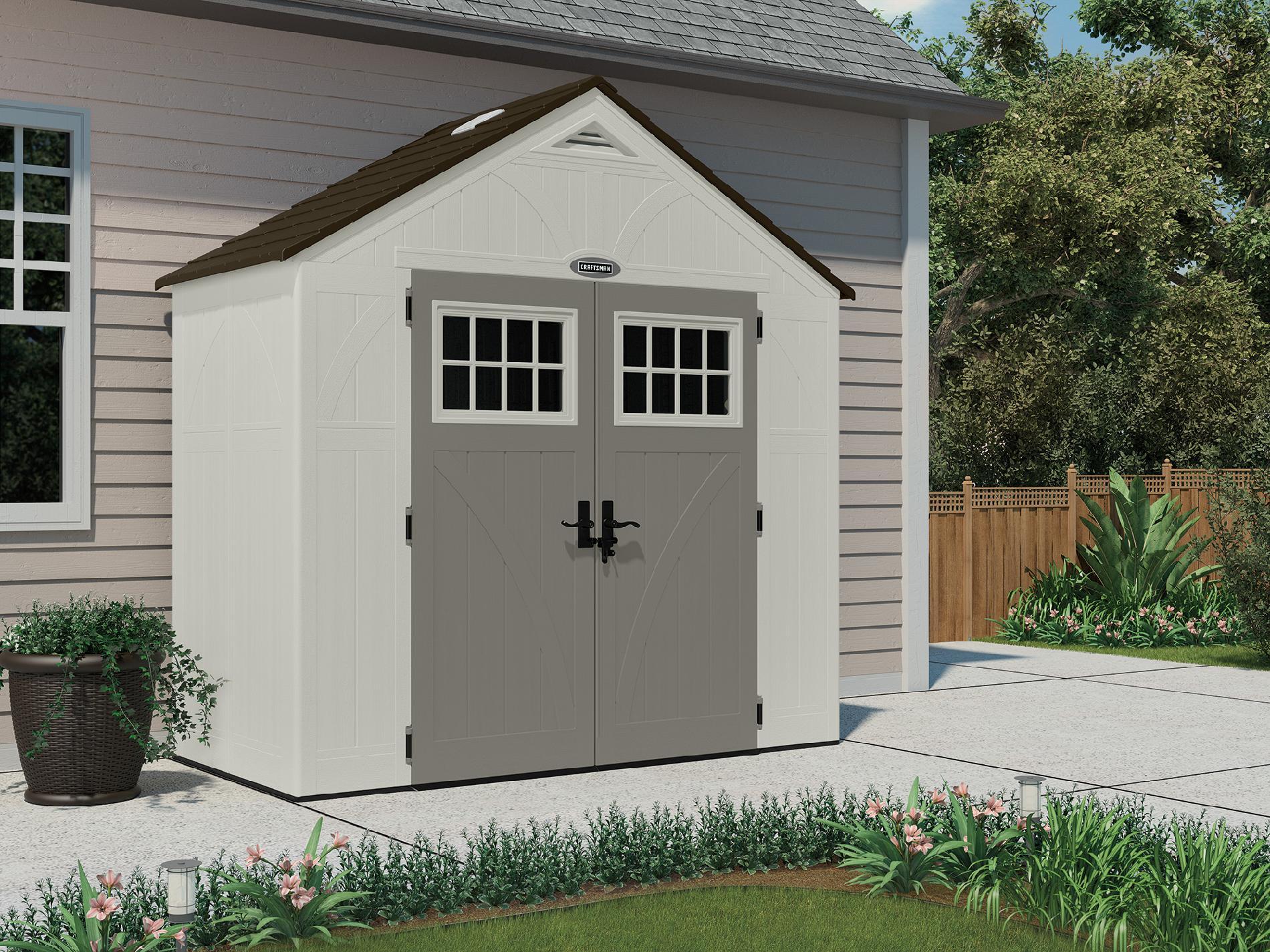 "Craftsman 8' 4.5"" x 4' 0.75"" Resin Storage Building, 206 cu. ft. - Exclusive VersaTrack™ Compatibility"