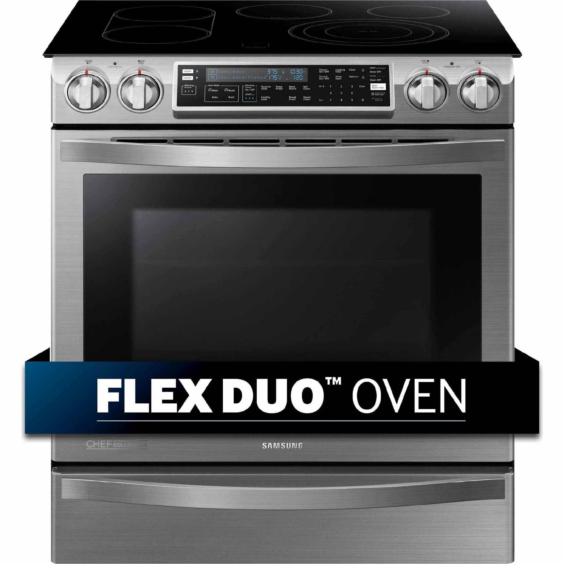 Samsung NE58H9950WS 5.8 cu. ft. Slide-In Electric Chef Collection Range w/ Flex Duo Oven - Stainless Steel