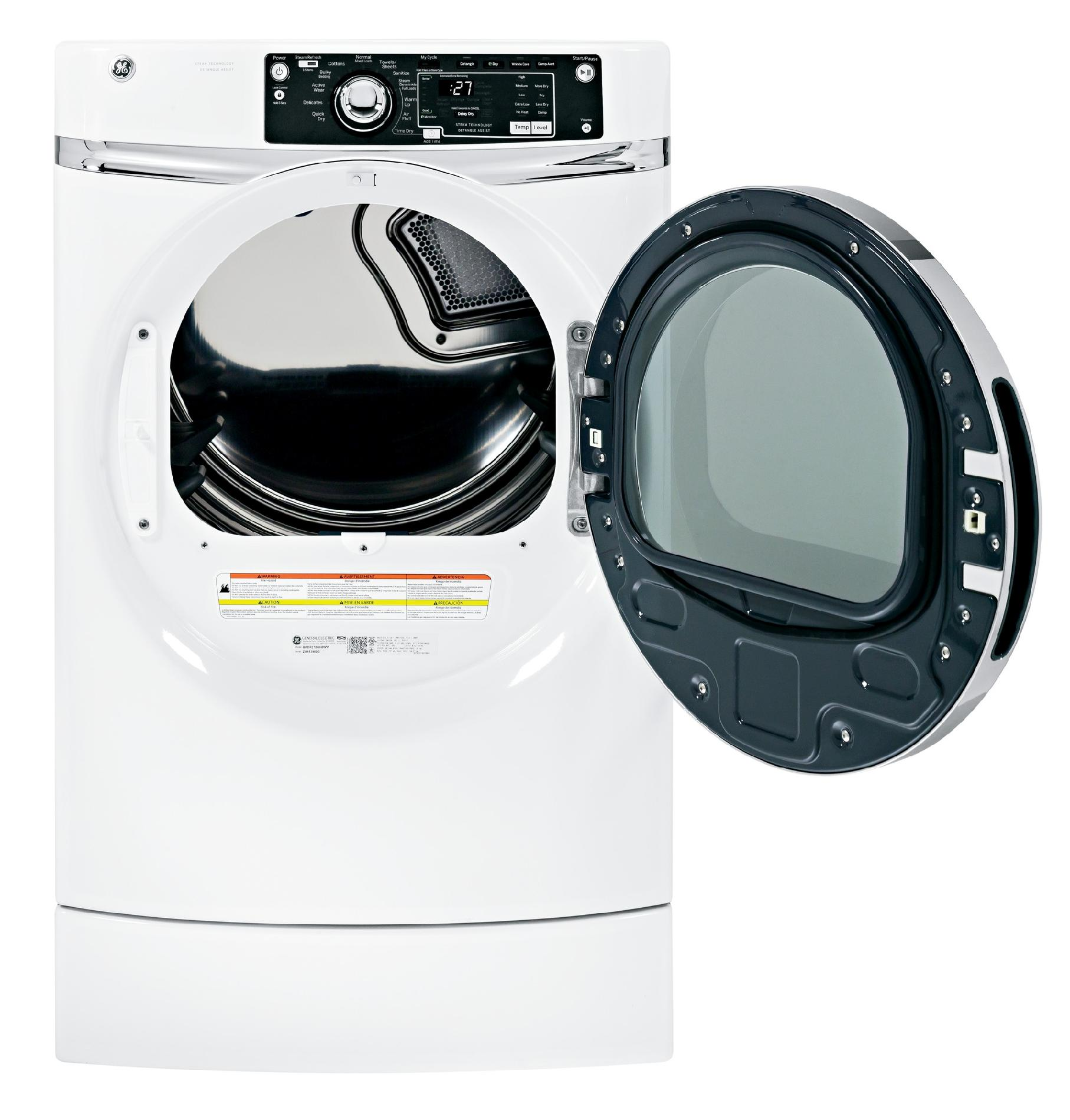 GE Appliances GFDR270GHWW 8.1 cu. ft. RightHeight™ Design Gas Dryer w/ Steam - White