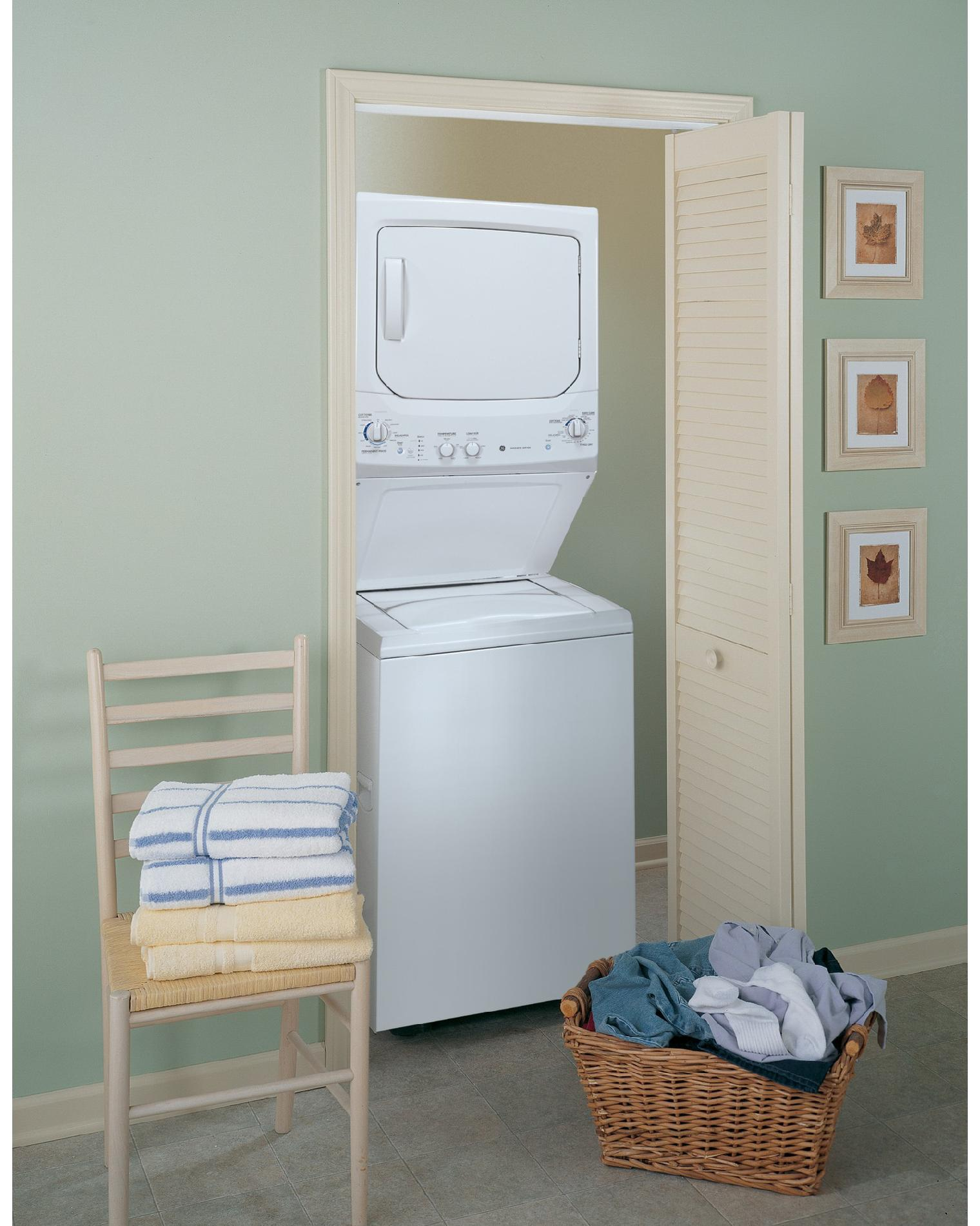 GE Unitized Spacemaker® 3.4 DOE cu. ft. Washer and 5.9 cu. ft. Electric Dryer - White