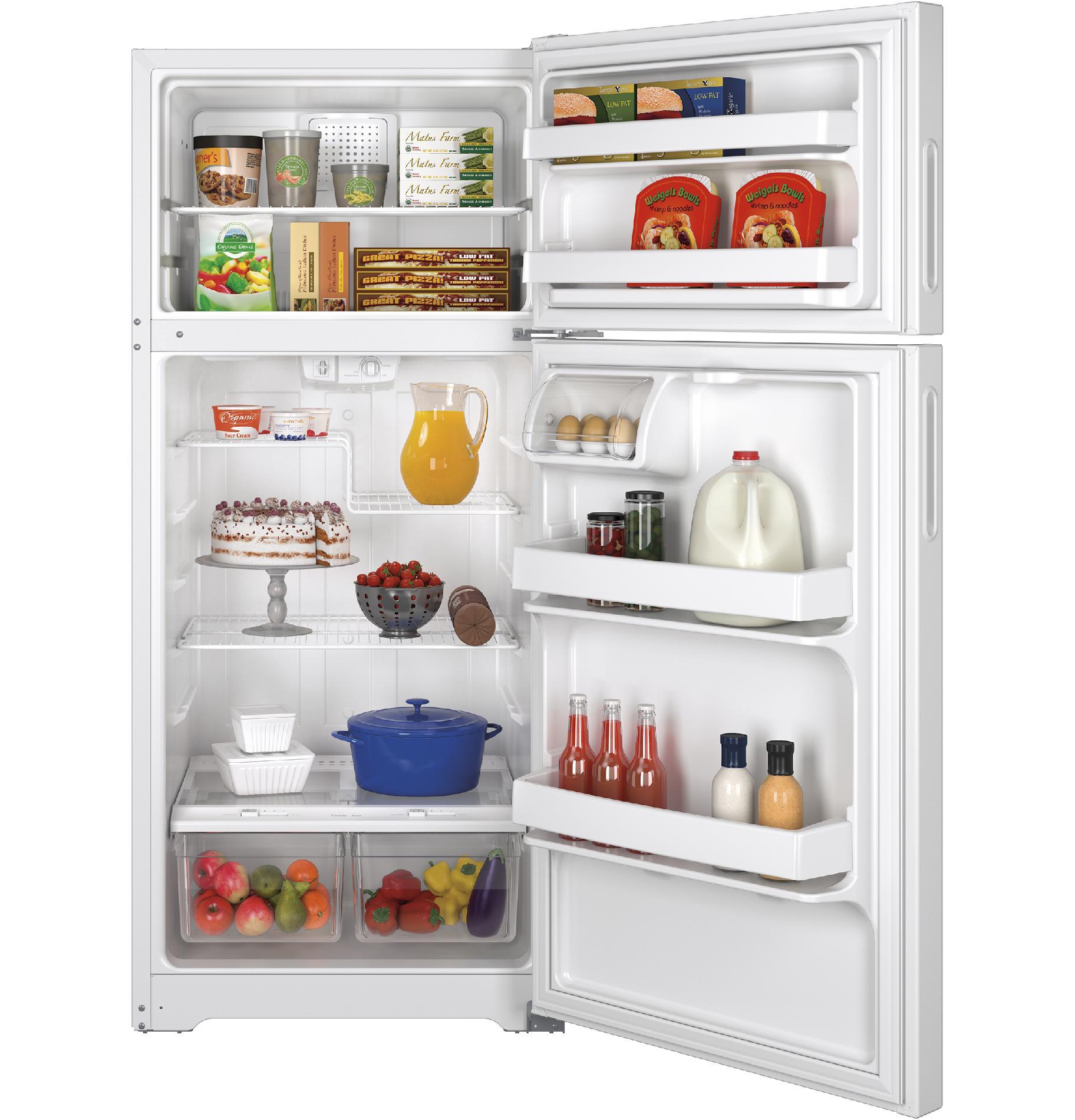 GE Appliances GPE16DTHWW 15.5 cu. ft. Recessed Handle Top-Freezer Refrigerator - White