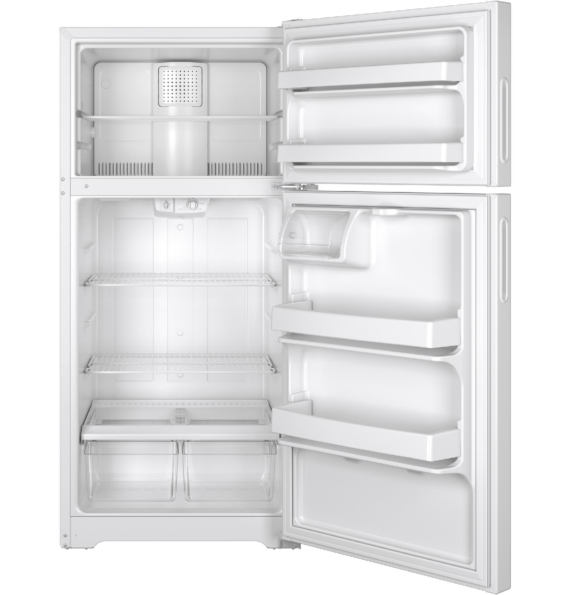 Hotpoint HPE15BTHWW 14.6 cu. ft. Recessed Handle Top-Freezer Refrigerator - White