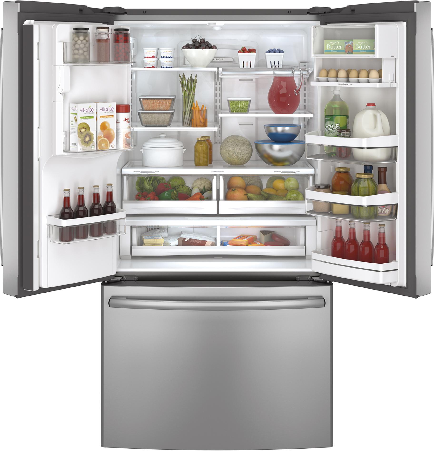 GE Profile PYE22PSHSS 22.1 cu. ft. Counter-Depth French-Door Ice & Water Refrigerator - Stainless Steel