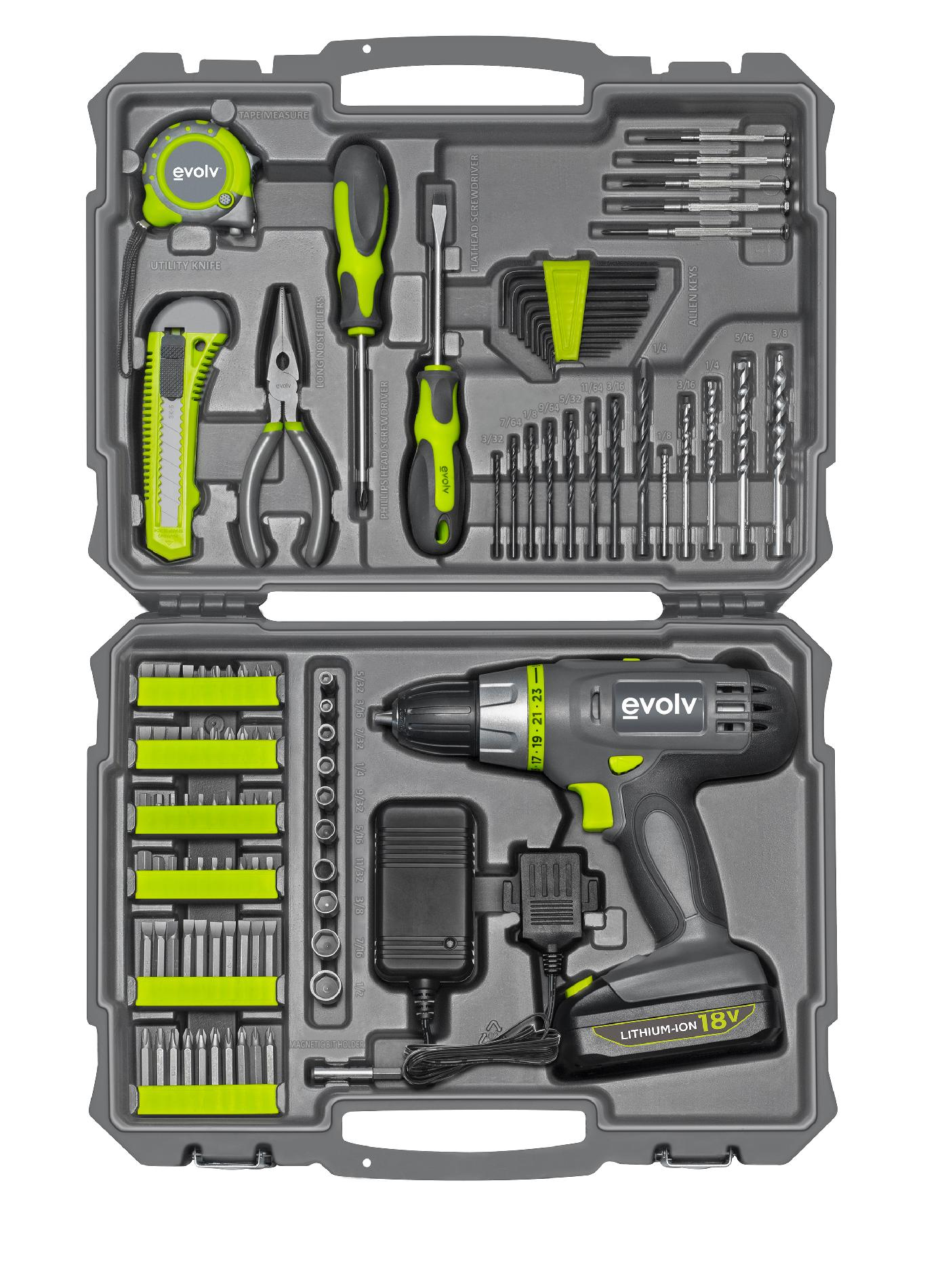 Evolv 107-Piece Cordless Lithium Drill & Project Toolkit