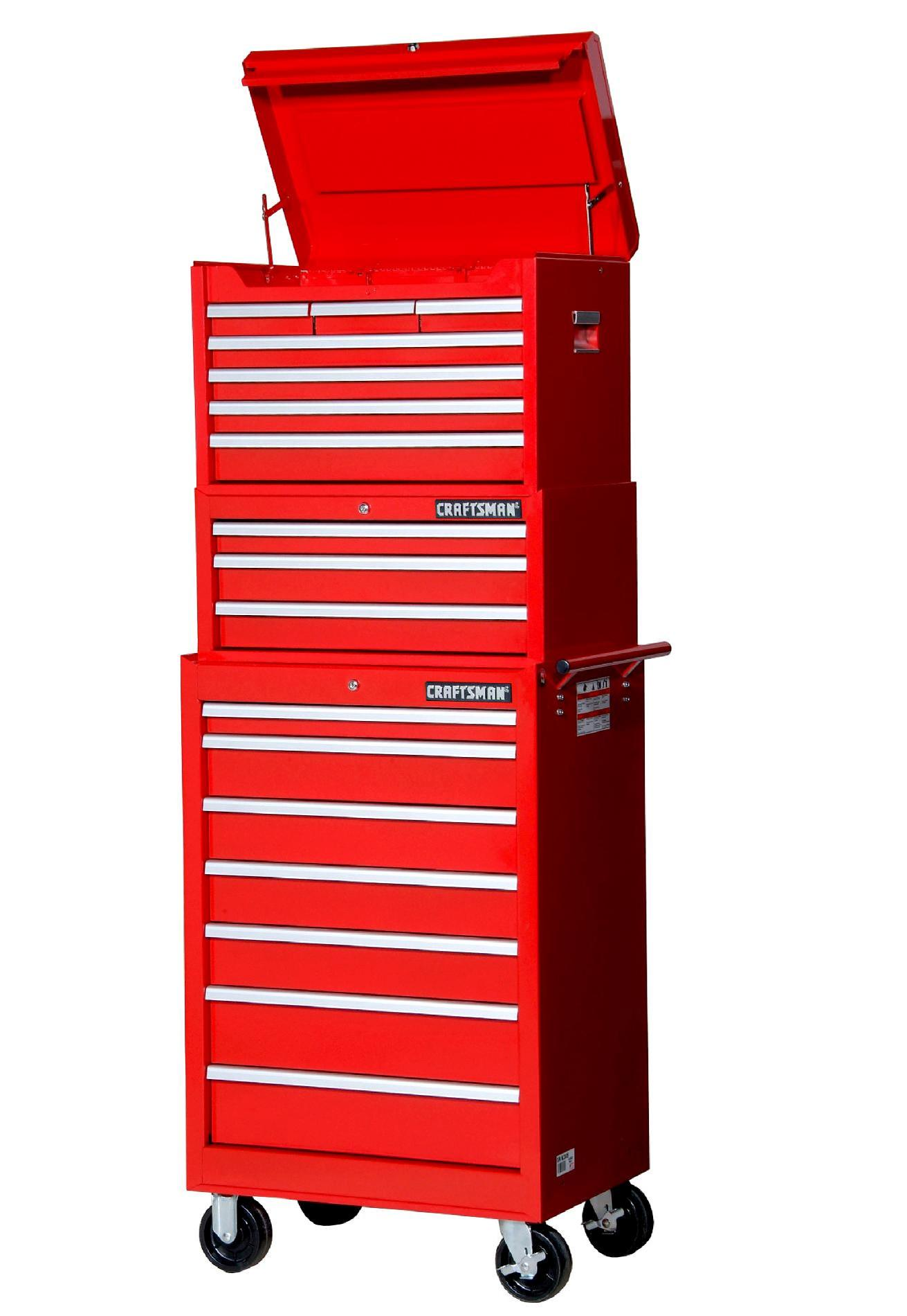 Craftsman 11-Drawer 3-PC Standard Duty Ball-Bearing Combo Red