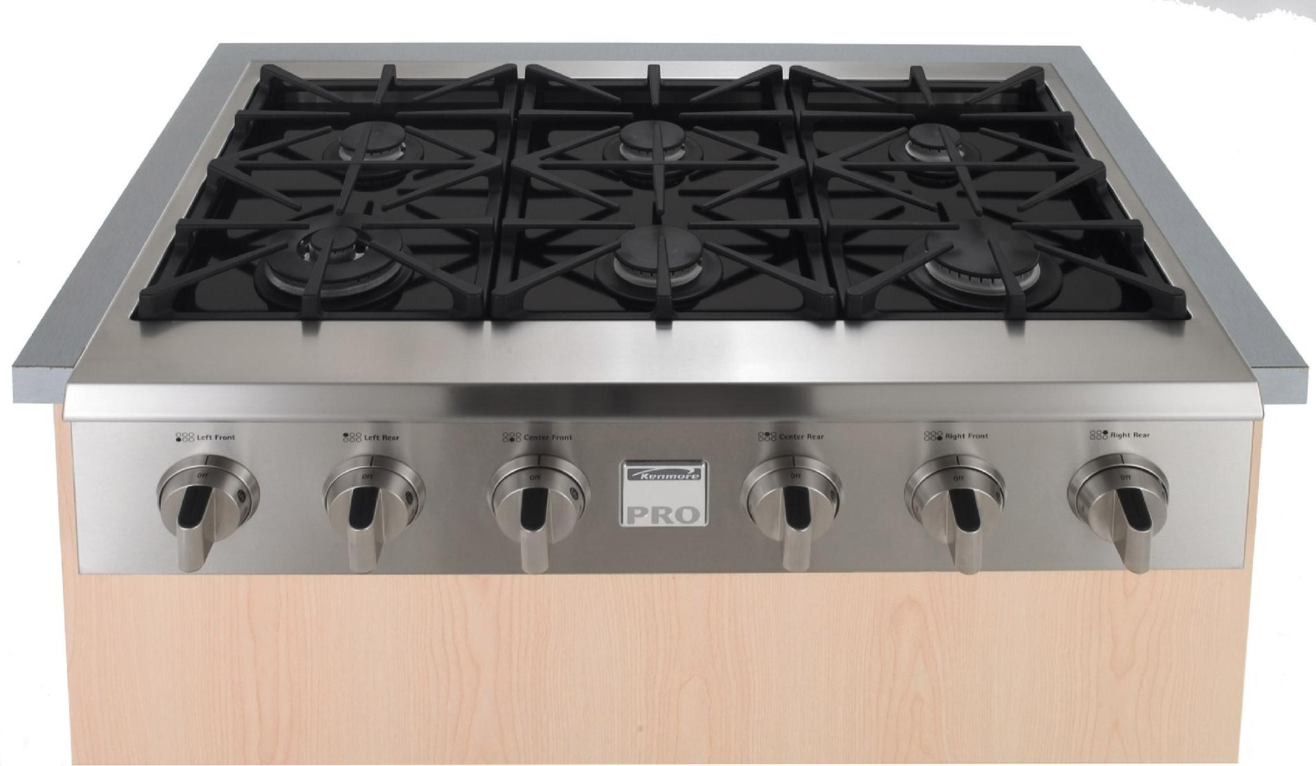 "Kenmore Pro 36"" Slide-In Ceramic-Glass Gas Cooktop"