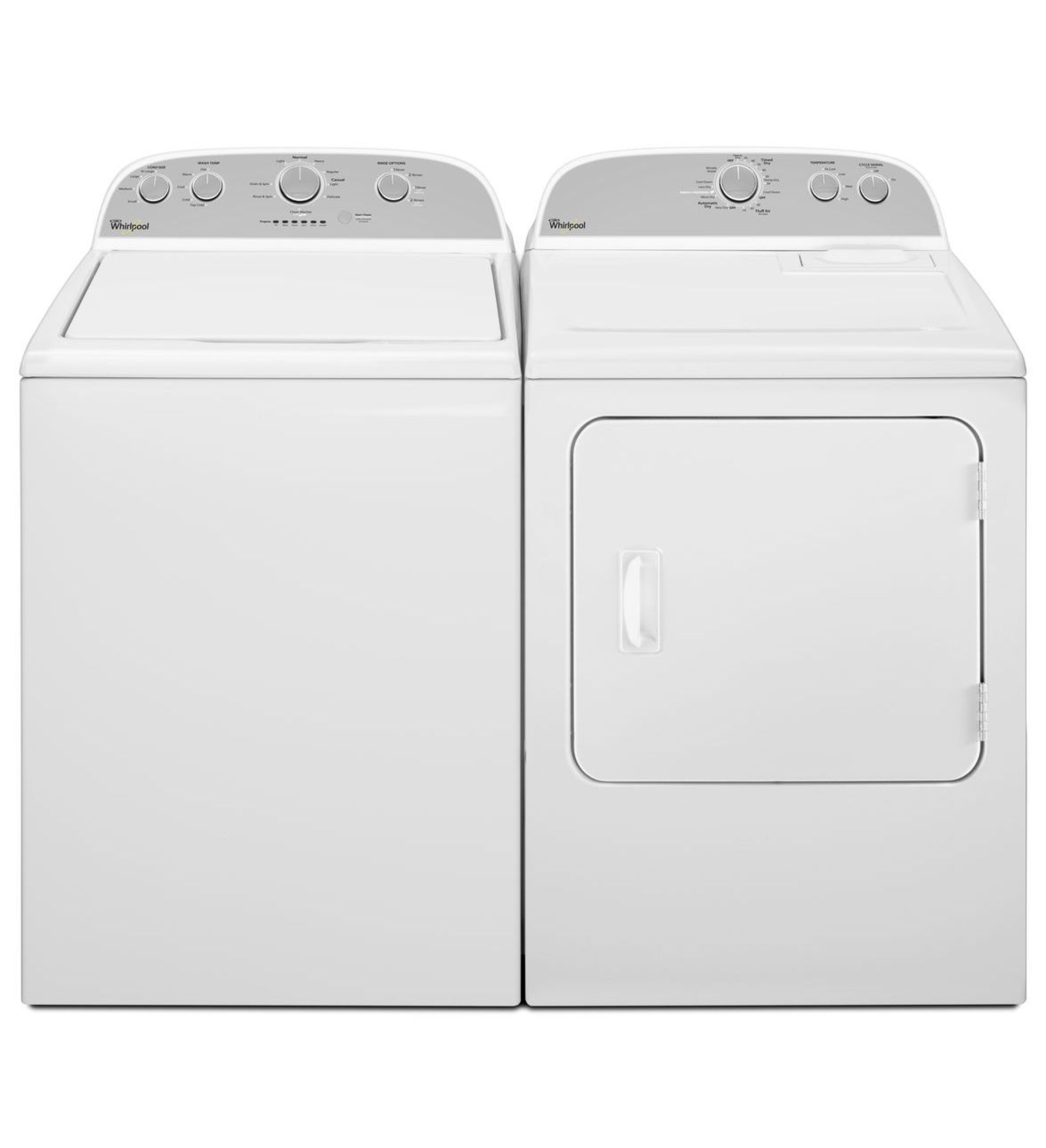 Whirlpool 3.4 cu. ft. White Top Load Washer & 6.5 cu. ft. White Dryer