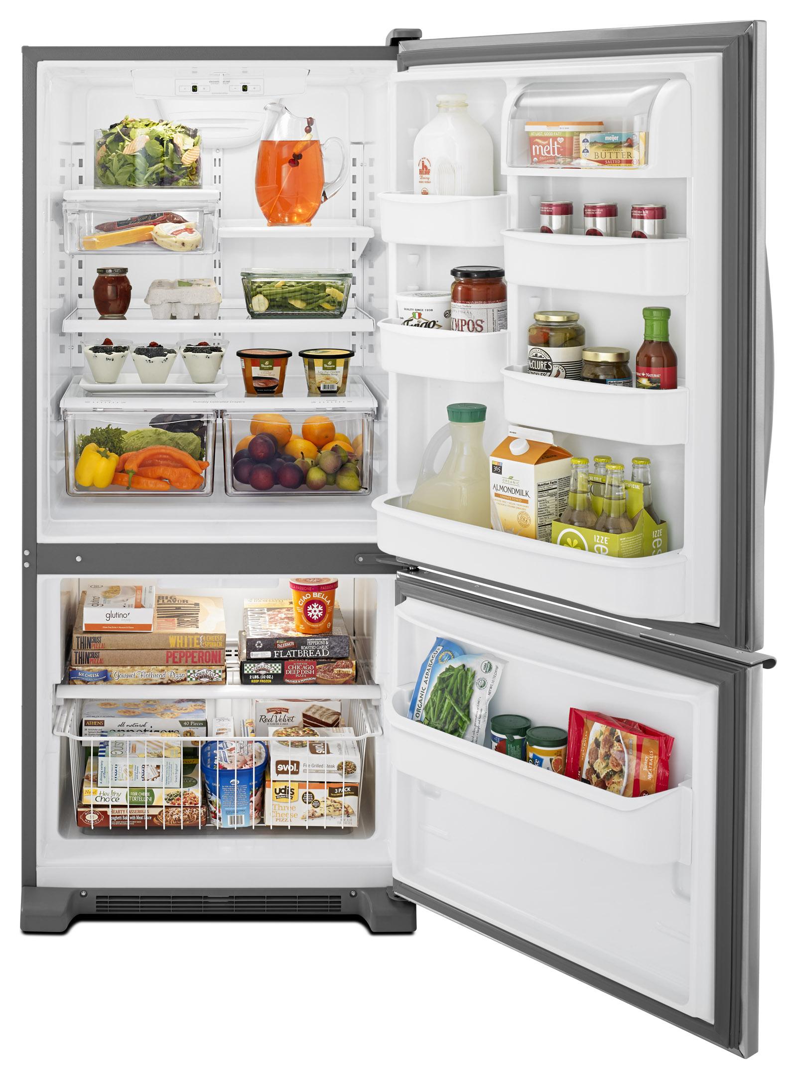 Whirlpool WRB119WFBM 19 cu. ft. Single Door Bottom Freezer Refrigerator w/ Adaptive Defrost - Stainless Steel