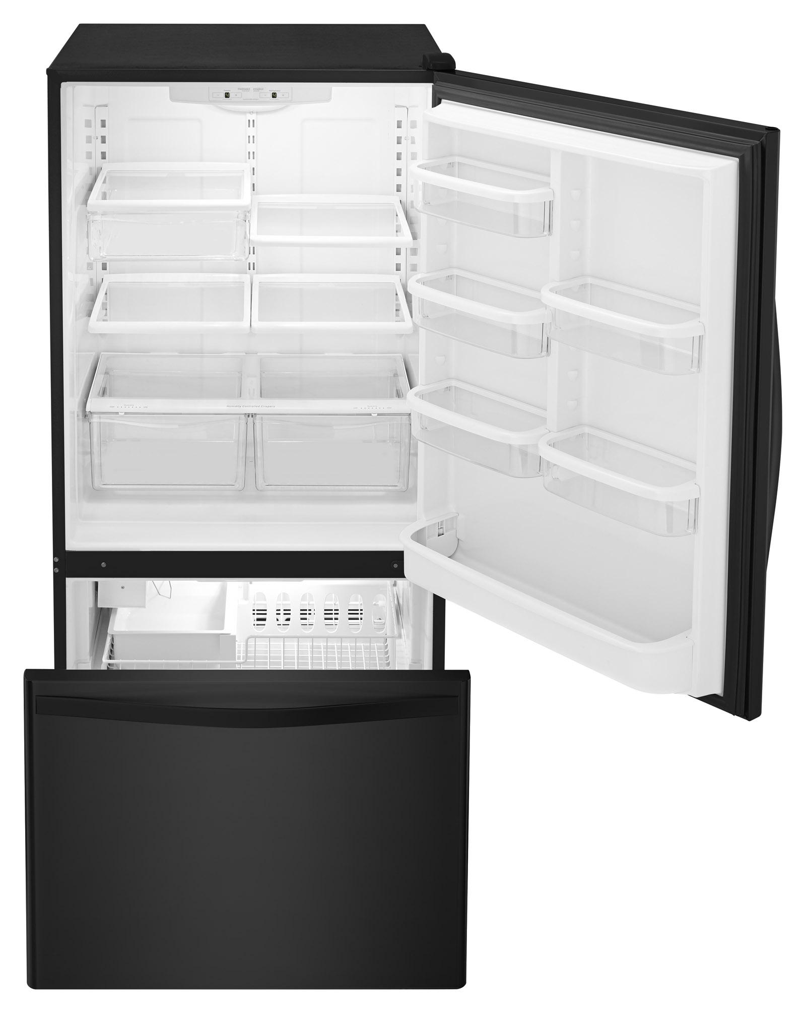 Whirlpool WRB329DMBB 19 cu. ft. Single Door Bottom Freezer Refrigerator w/ Adaptive Defrost - Black