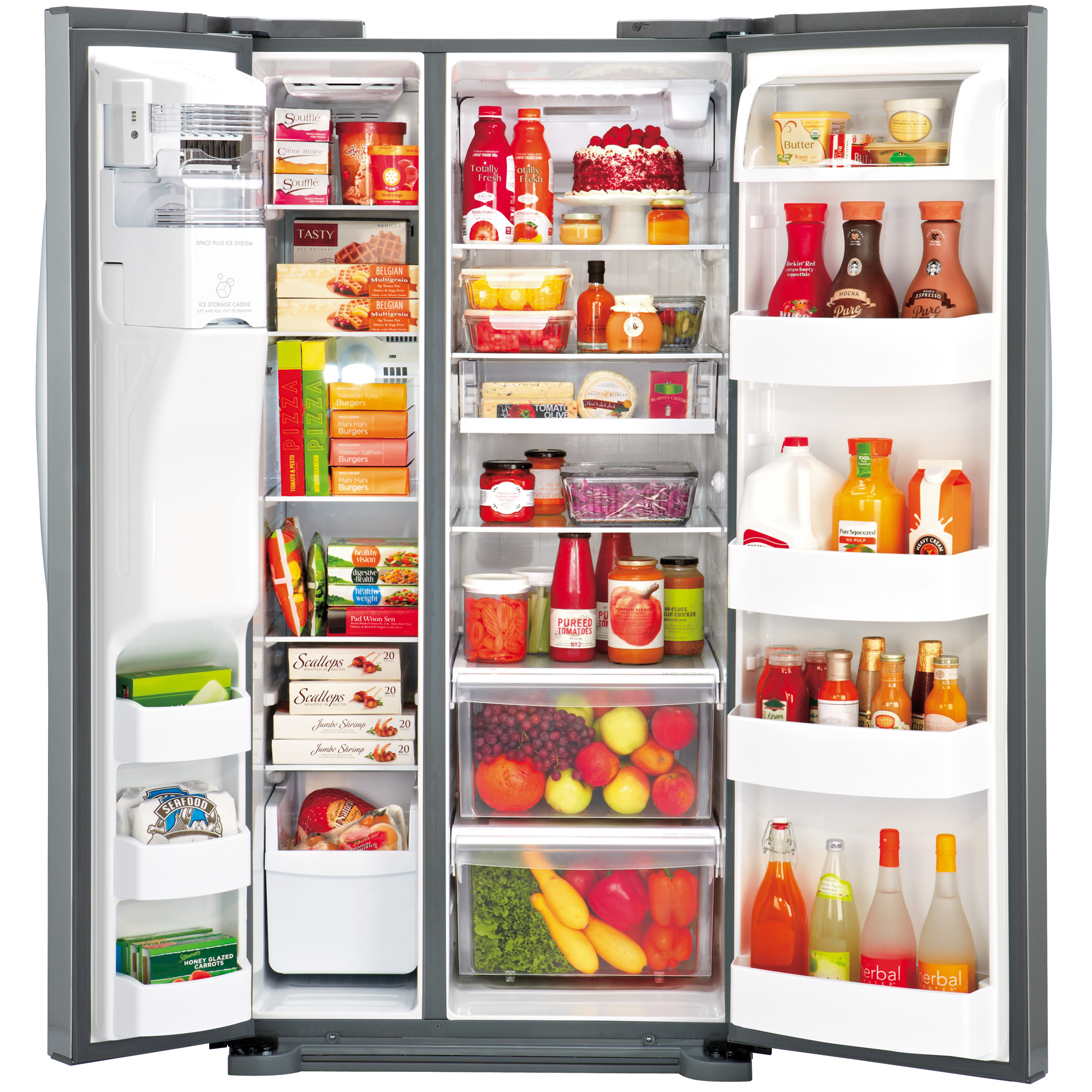 """LG LSXS22423S 22.1 cu. ft. Side-by-Side Refrigerator with Ice & Water Dispenser (33"""" Width) – Stainless"""