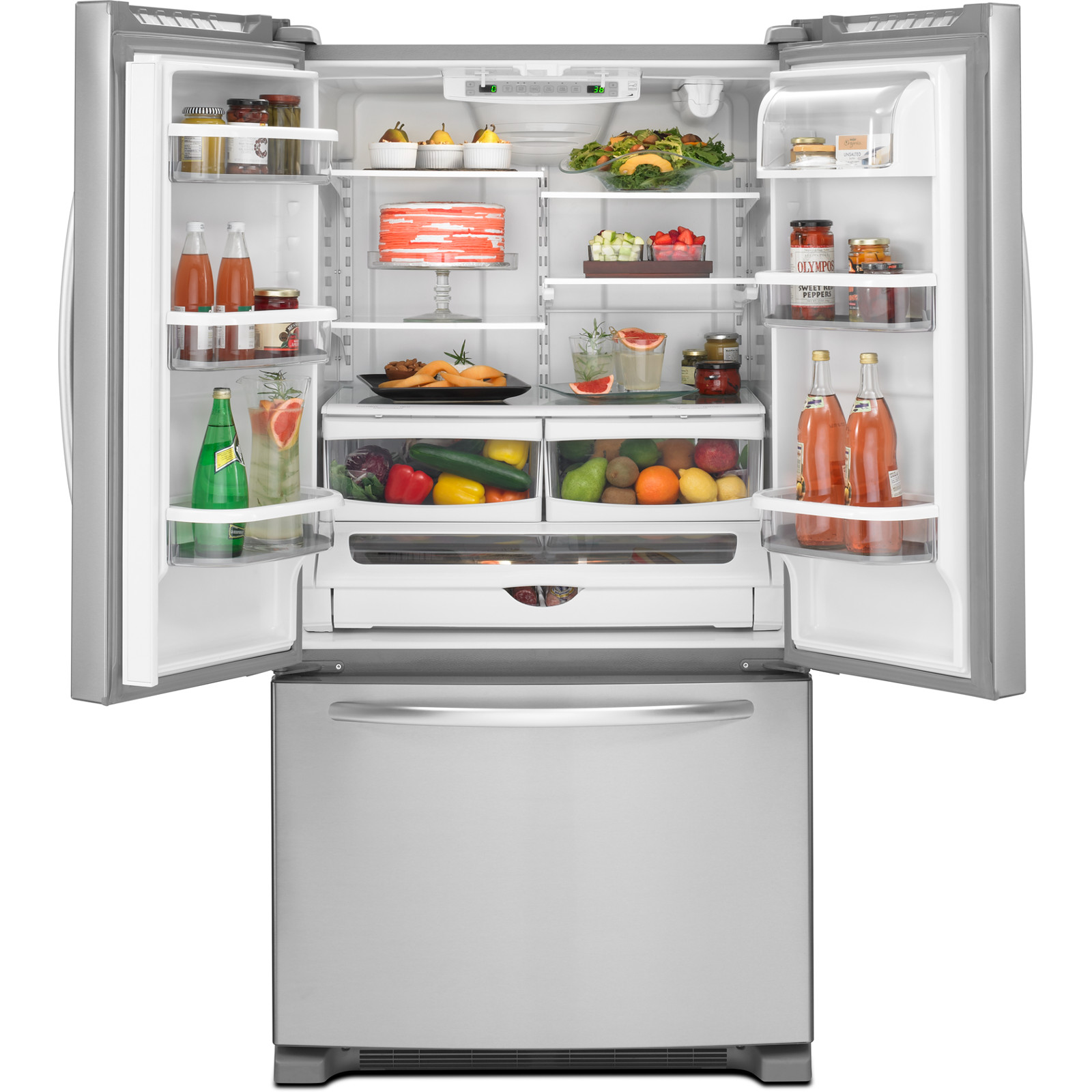 KitchenAid 25 cu. ft. French Door Refrigerator w/ Water Dispenser Inside - Stainless Steel