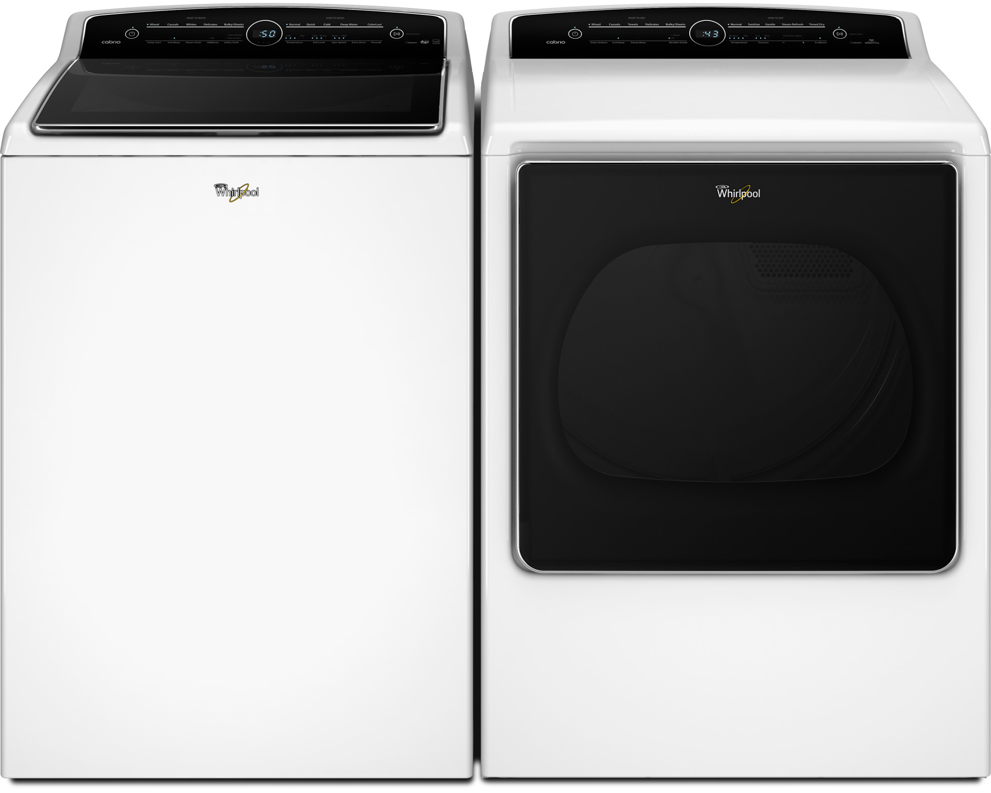 Whirlpool WTW8500DW 5.3 cu. ft. Cabrio® Top Load Washer w/ Intuitive Touch Controls - White