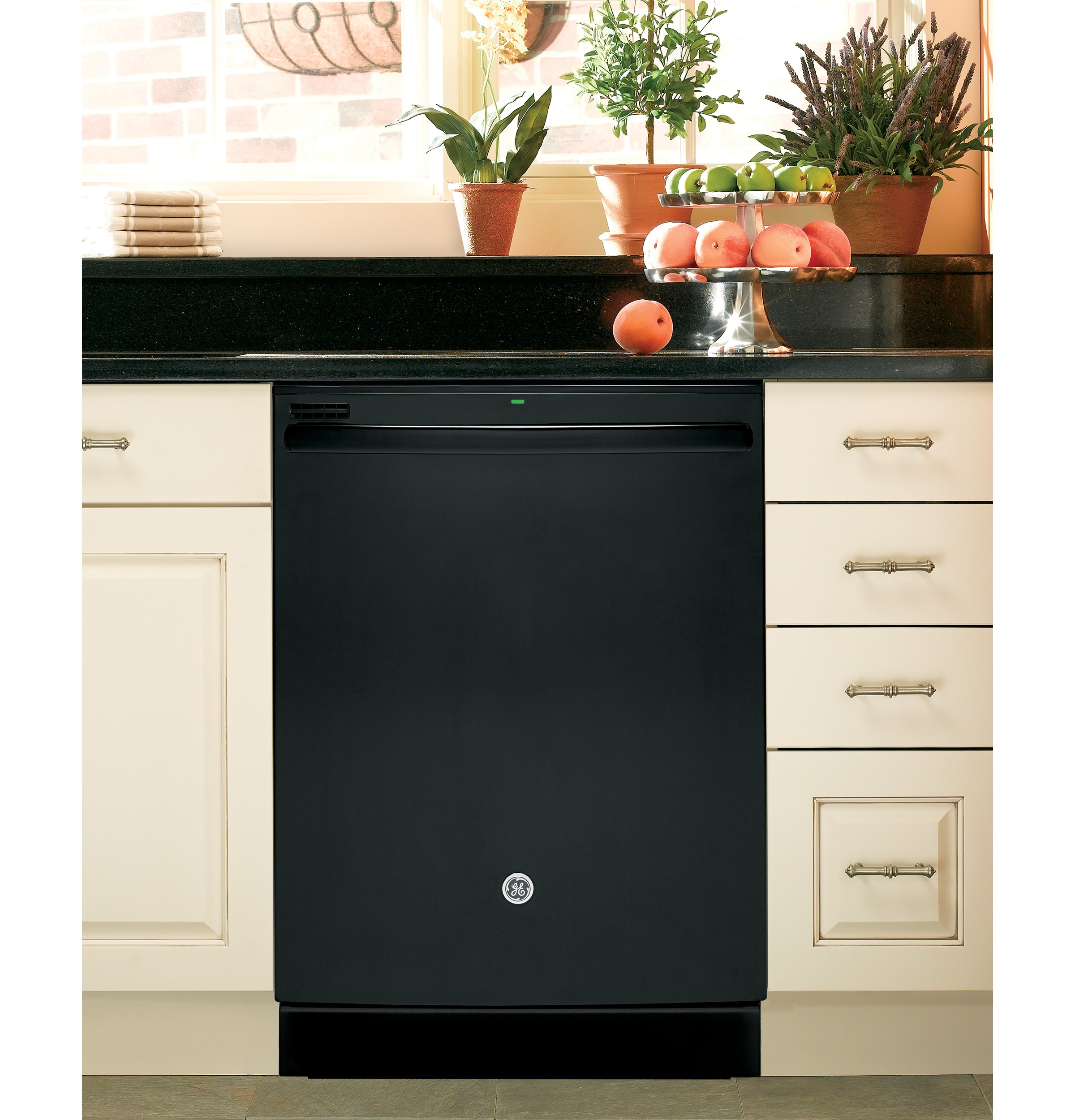 "GE 24"" Hybrid Built-in Dishwasher w/ Stainless Steel Interior - Black"