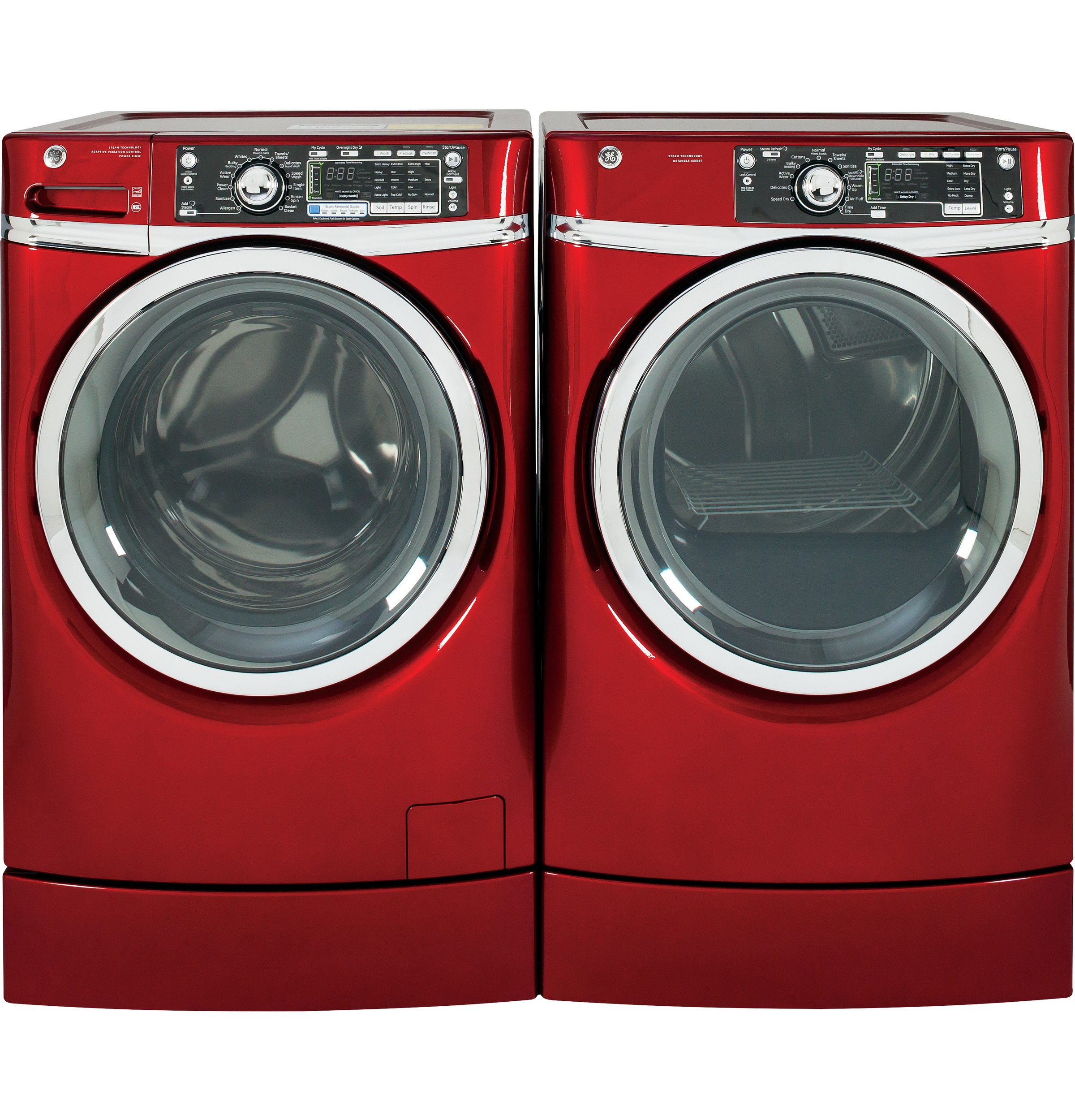 GE Appliances GFDR485GFRR 8.3 cu. ft. RightHeight™ Design Gas Dryer w/ Steam - Red