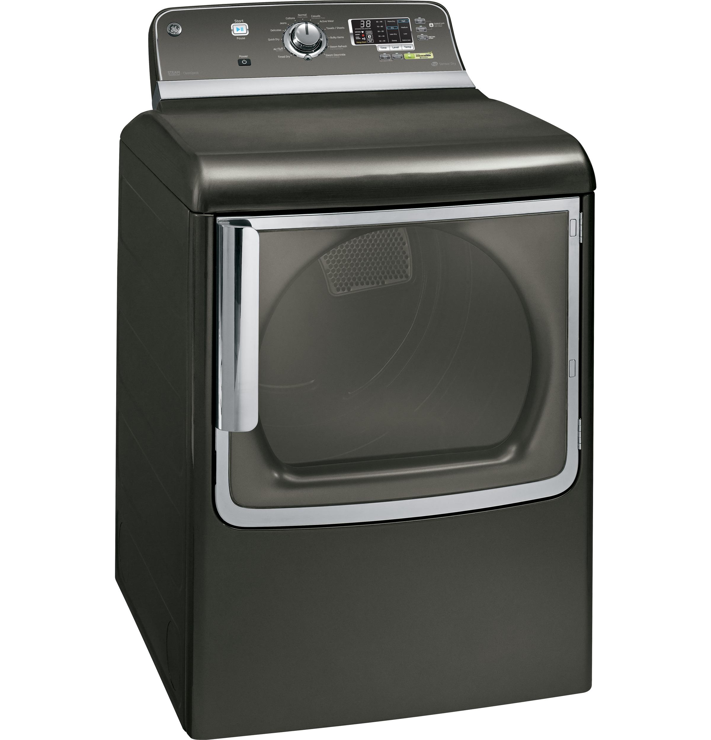 GE 7.8 cu. ft. Steam Gas Dryer w/ Stainless Steel Drum - Metallic Carbon