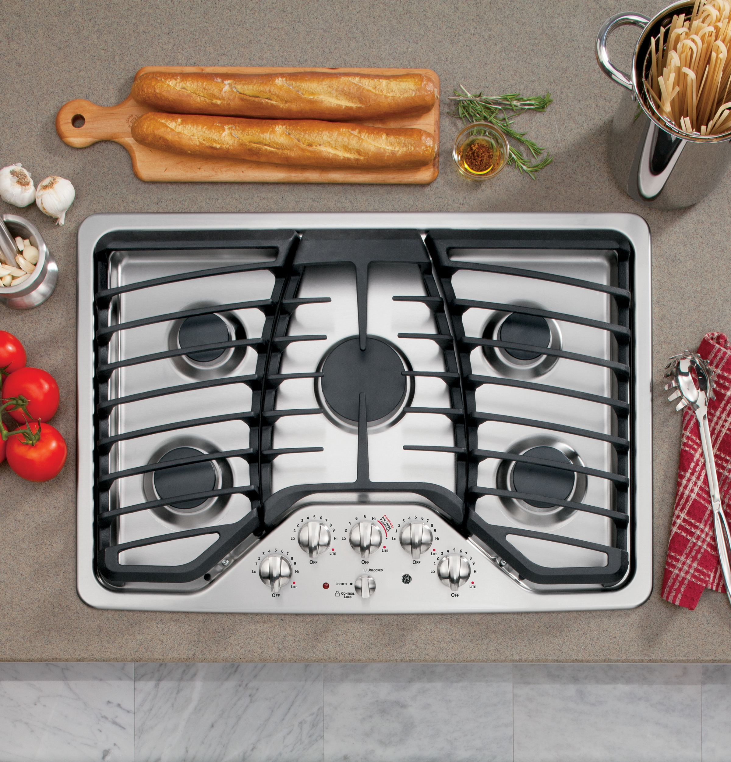 "GE Profile PGP959SETSS 30"" Stainless Steel Gas Cooktop"