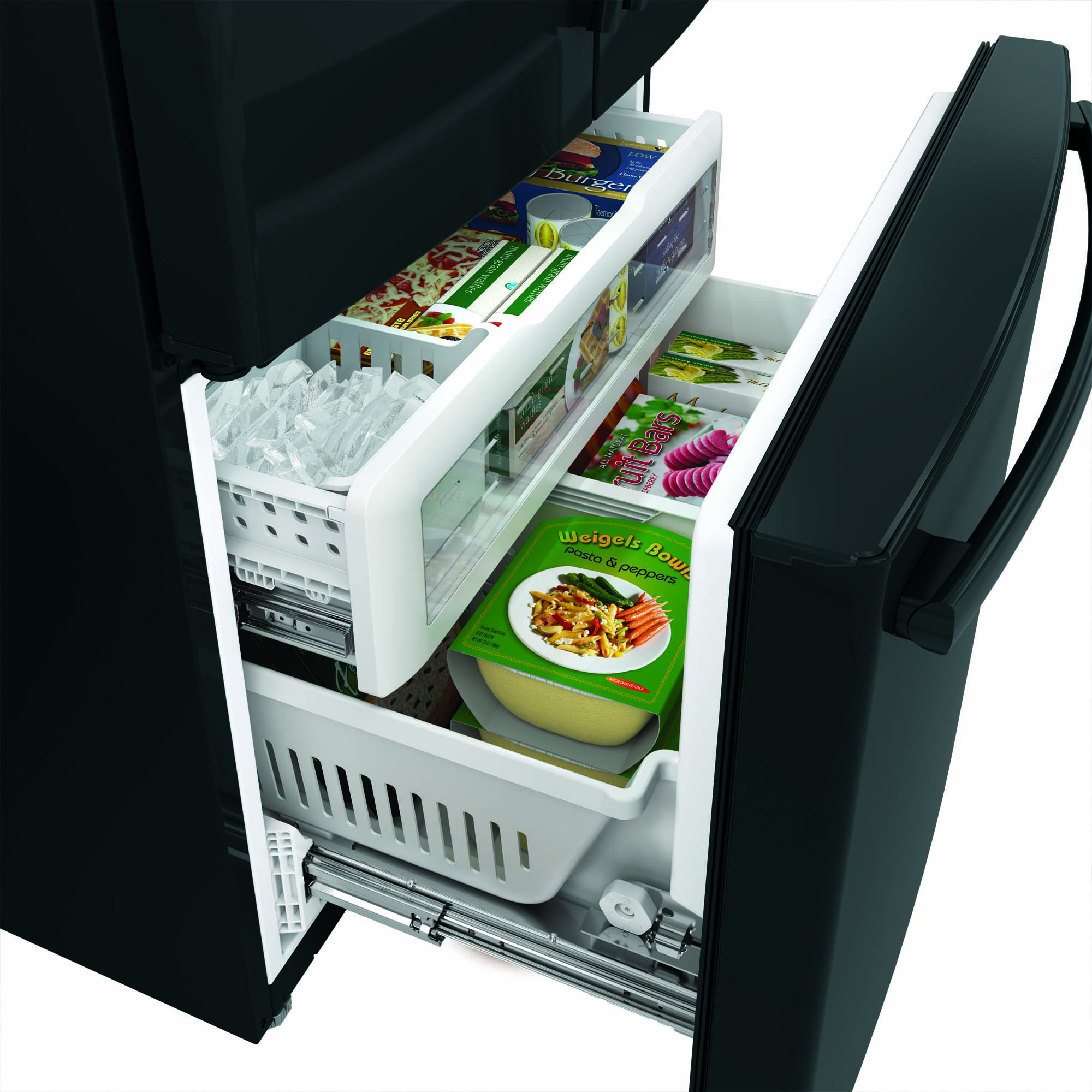 GE Appliances GNE29GGHBB 28.5 cu. ft. French-Door Refrigerator - Black