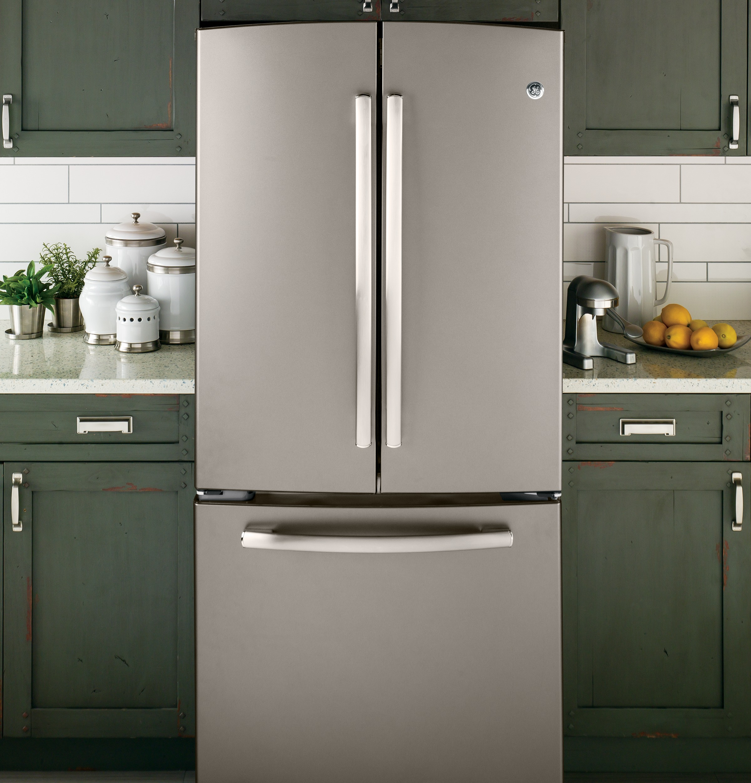 GE Appliances GNS23GMHES 22.7 cu. ft. French-Door Refrigerator - Slate