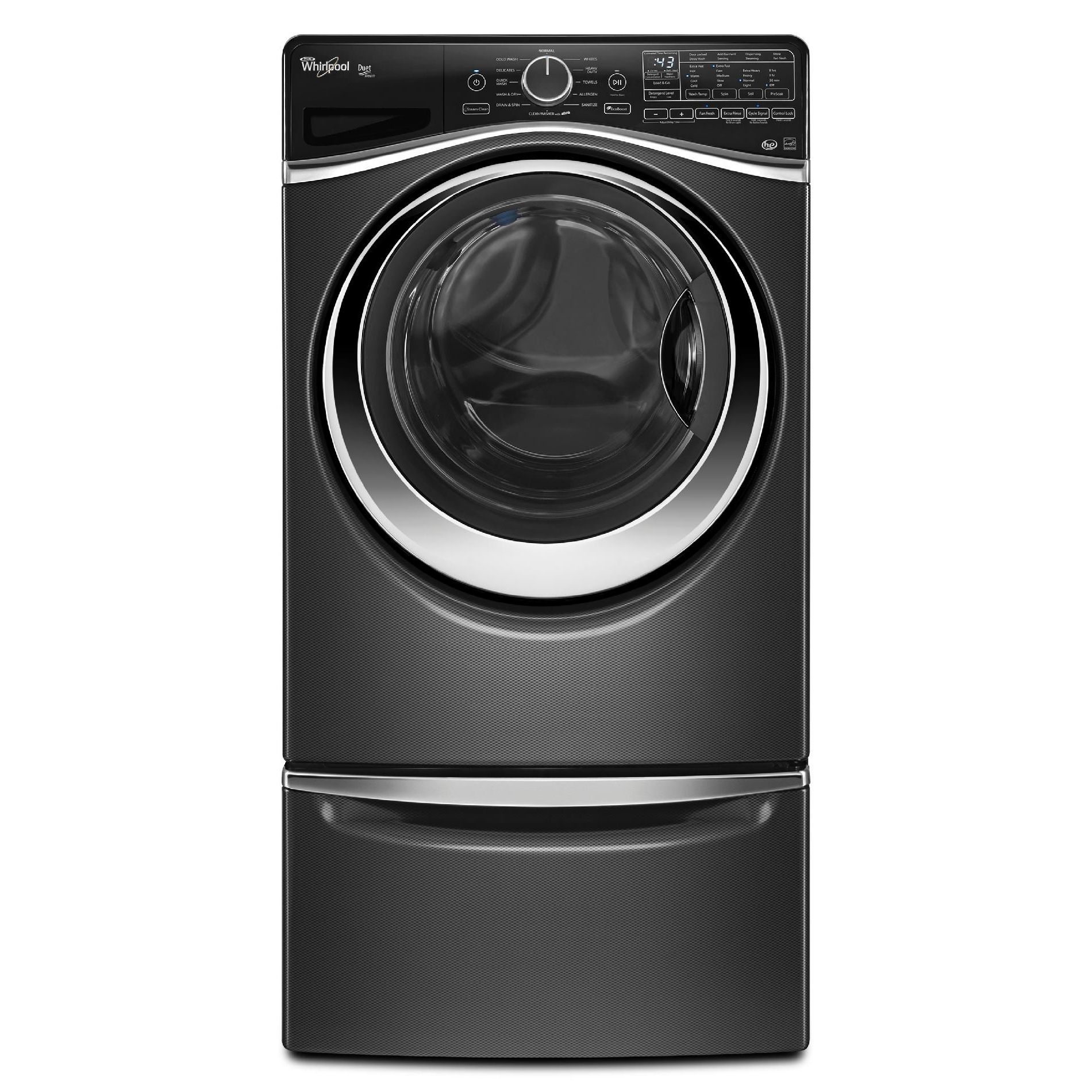 Whirlpool WFW97HEDBD 4.5 cu. ft. Duet® Front-Load Washer w/ Load and Go System - Black Diamond